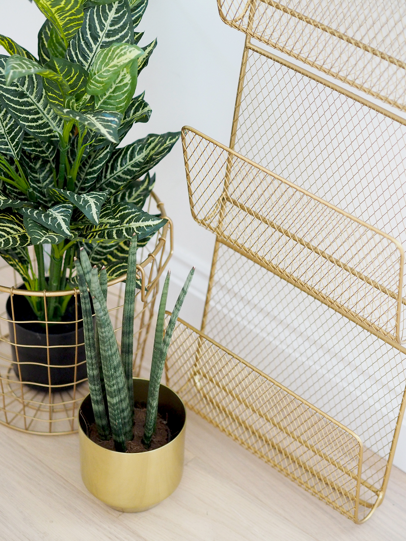 homesense gold wire magazine rack and fake plants