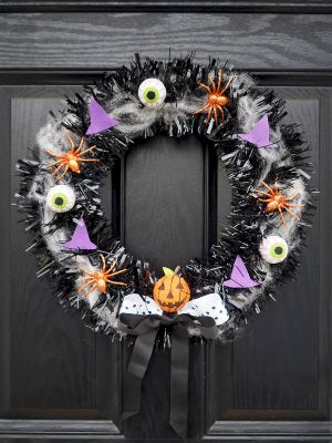 make your own halloween door wreath diy tutorial
