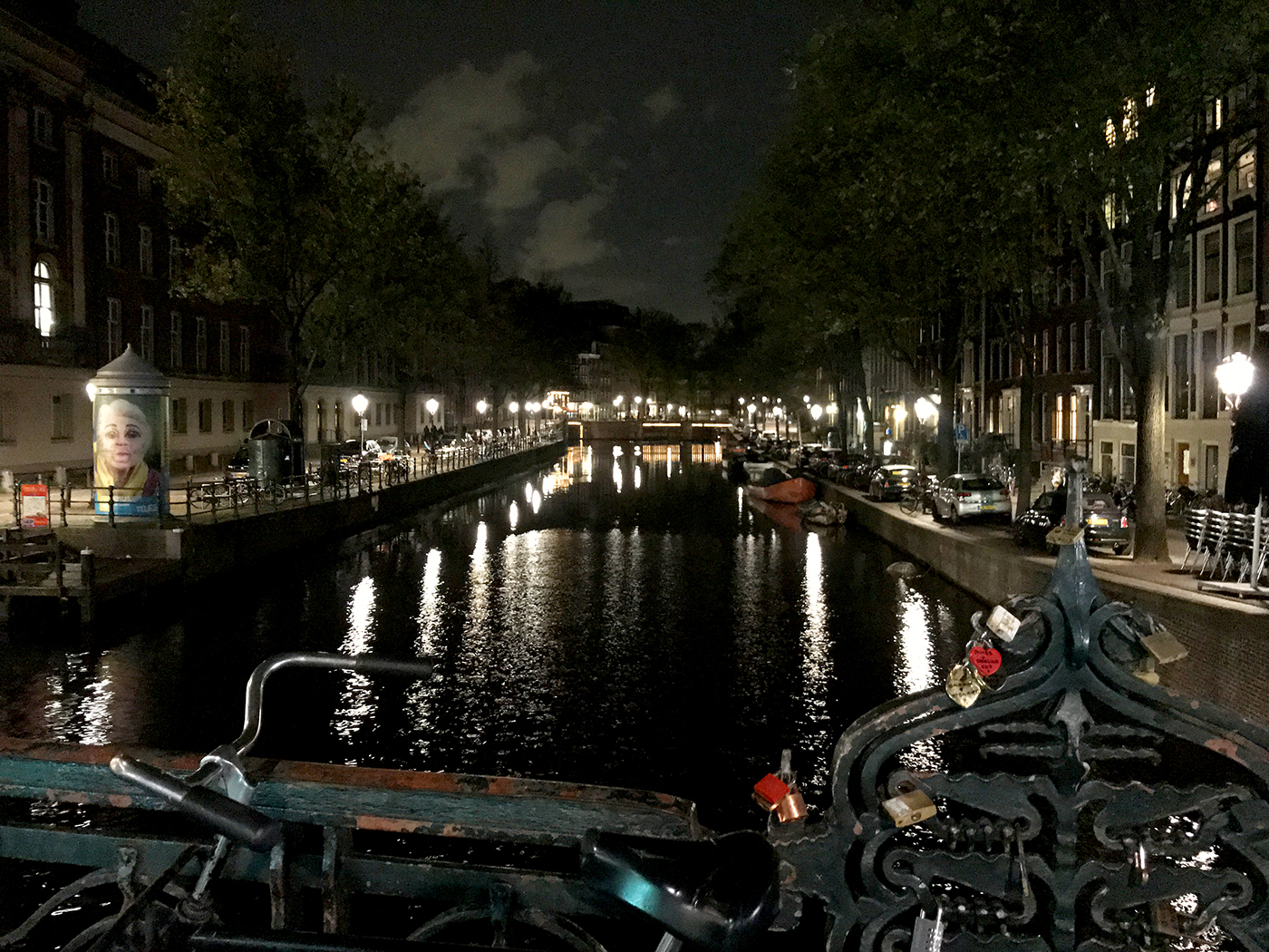 amsterdam night view of bridges