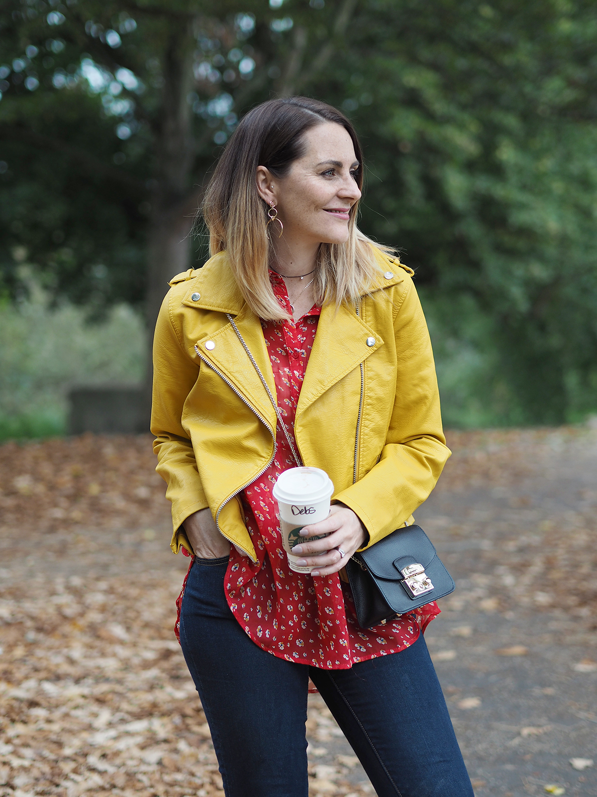 autumn color clash outfit yellow biker jacket