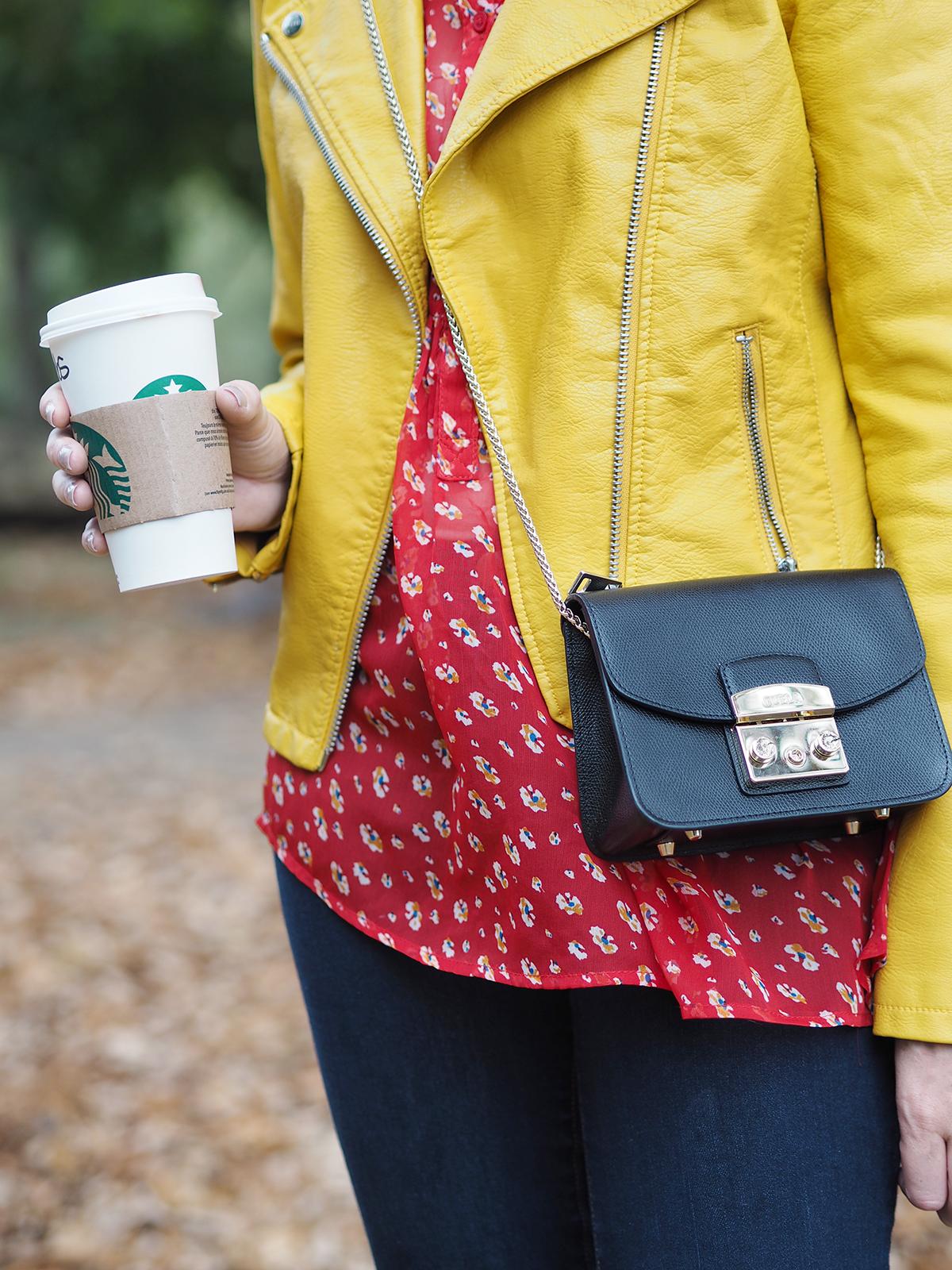 autumn color clash outfit furla metropolis bag