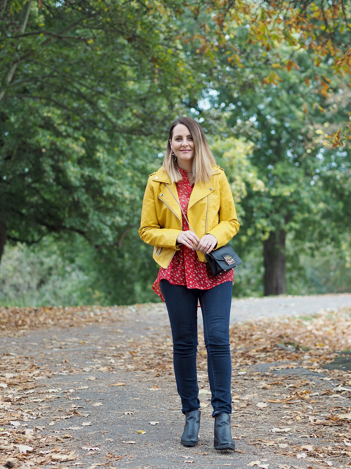 color clash outfit yellow biker