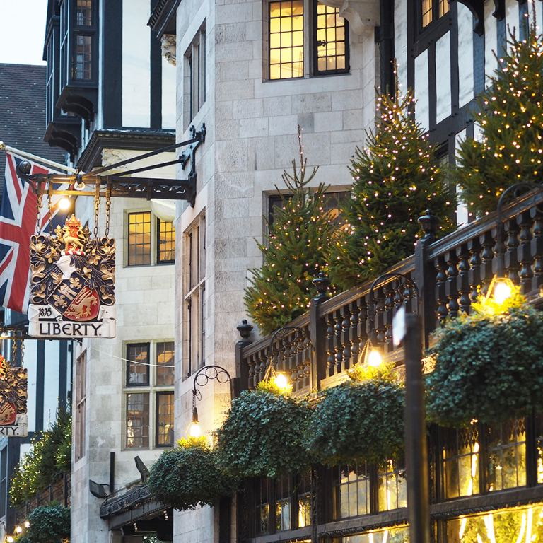 Liberty of London outside at christmas