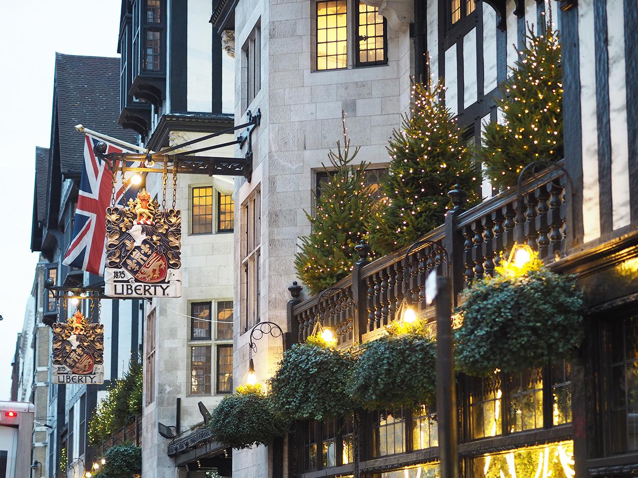 Liberty of London outside at christmas
