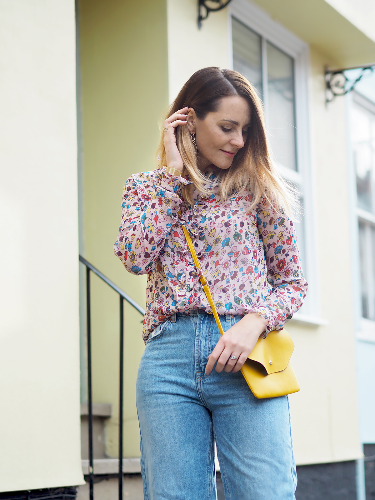 boden floral silk shirt outfit