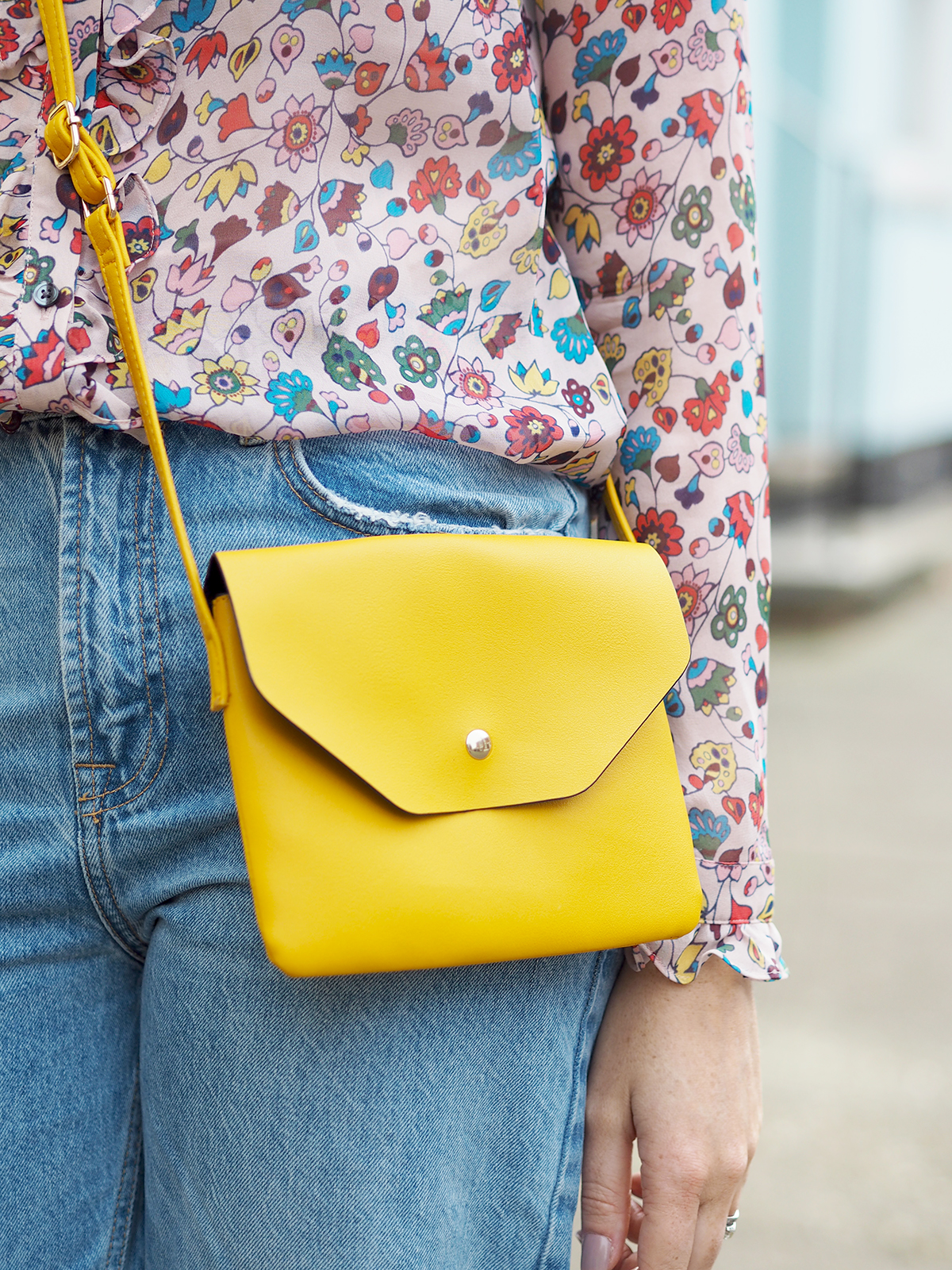 boden floral silk shirt outfit primark yellow handbag