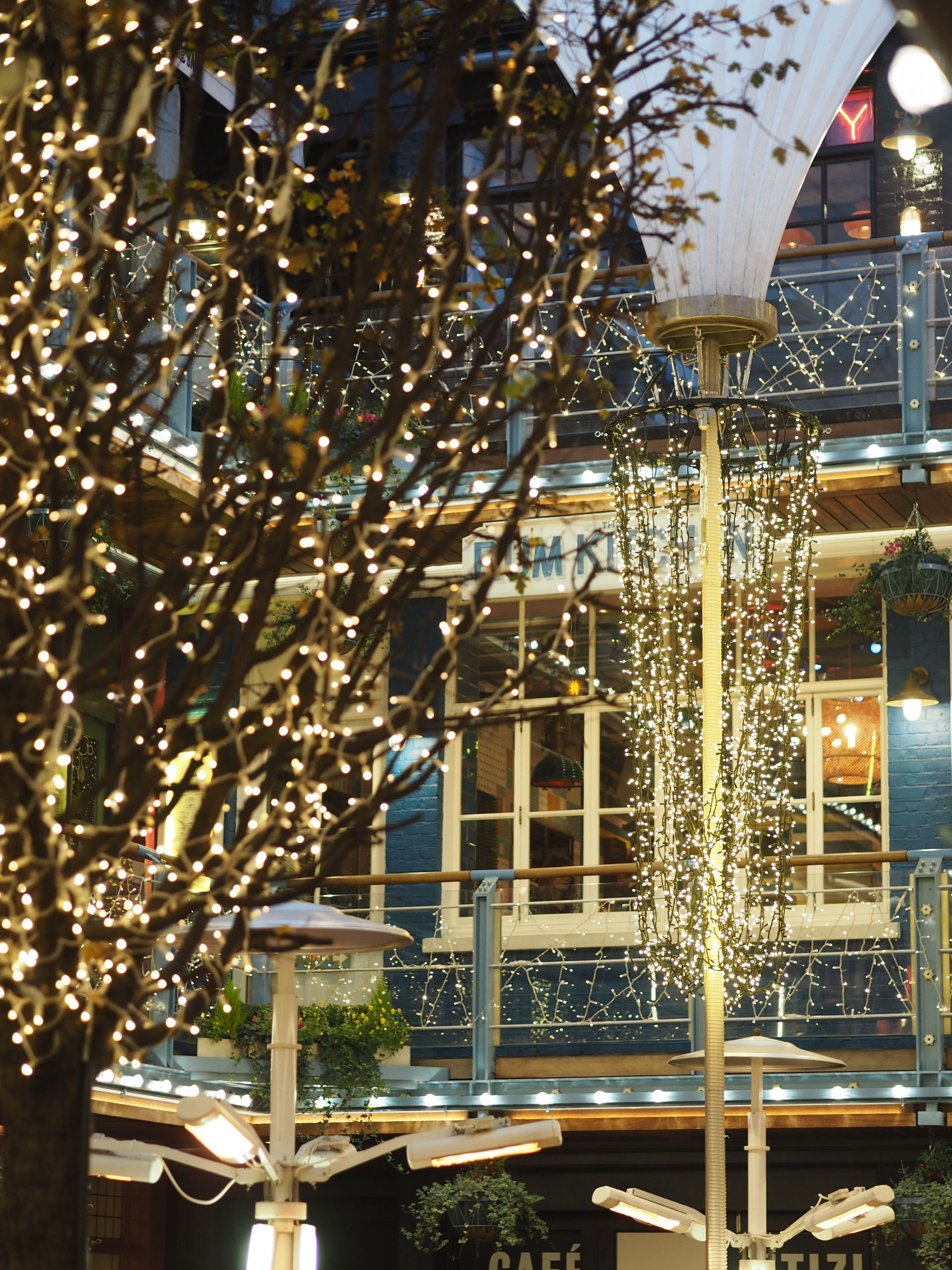 Festive Christmas lights in Kingly Court carnaby London