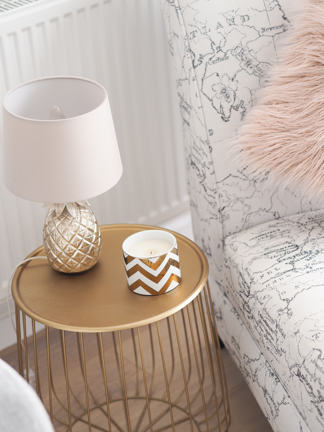 gold side table la redoute with pineapple table lamp