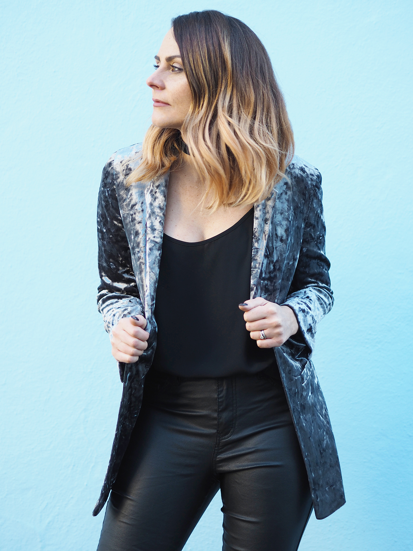 wallis crushed velvet blazer