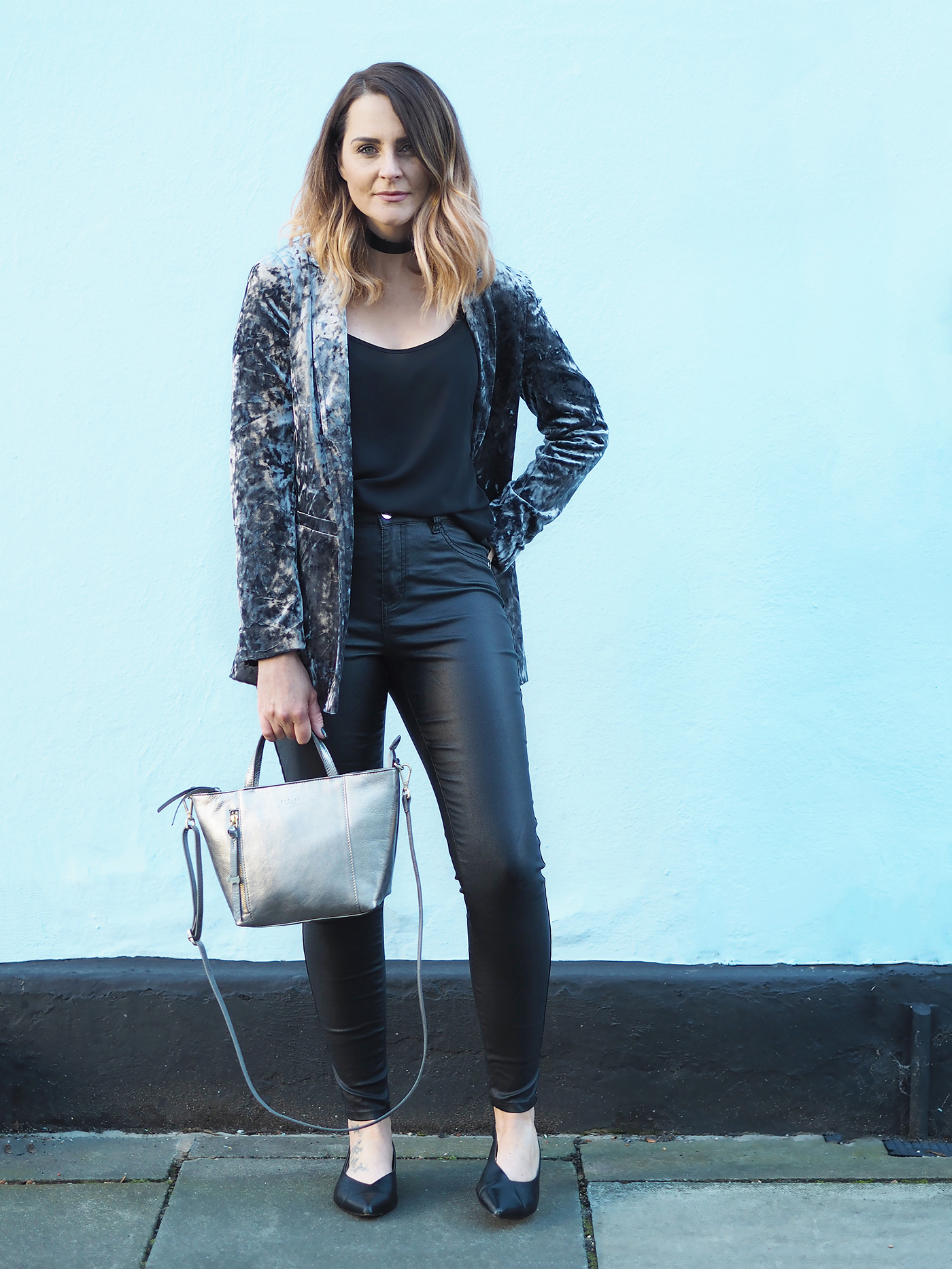 velvet blazer and leather trousers outfit