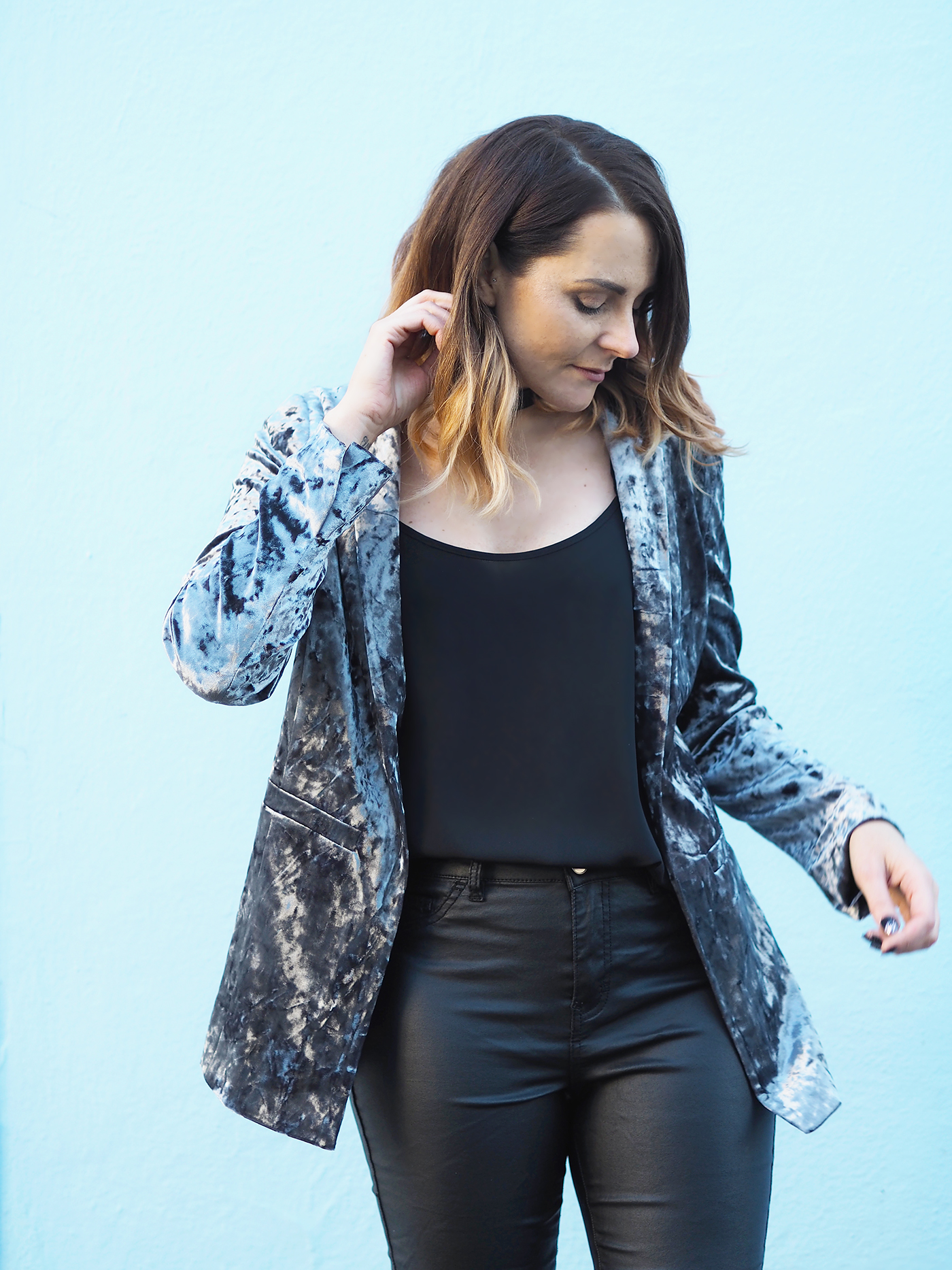 velvet blazer and leather look jeans outfit