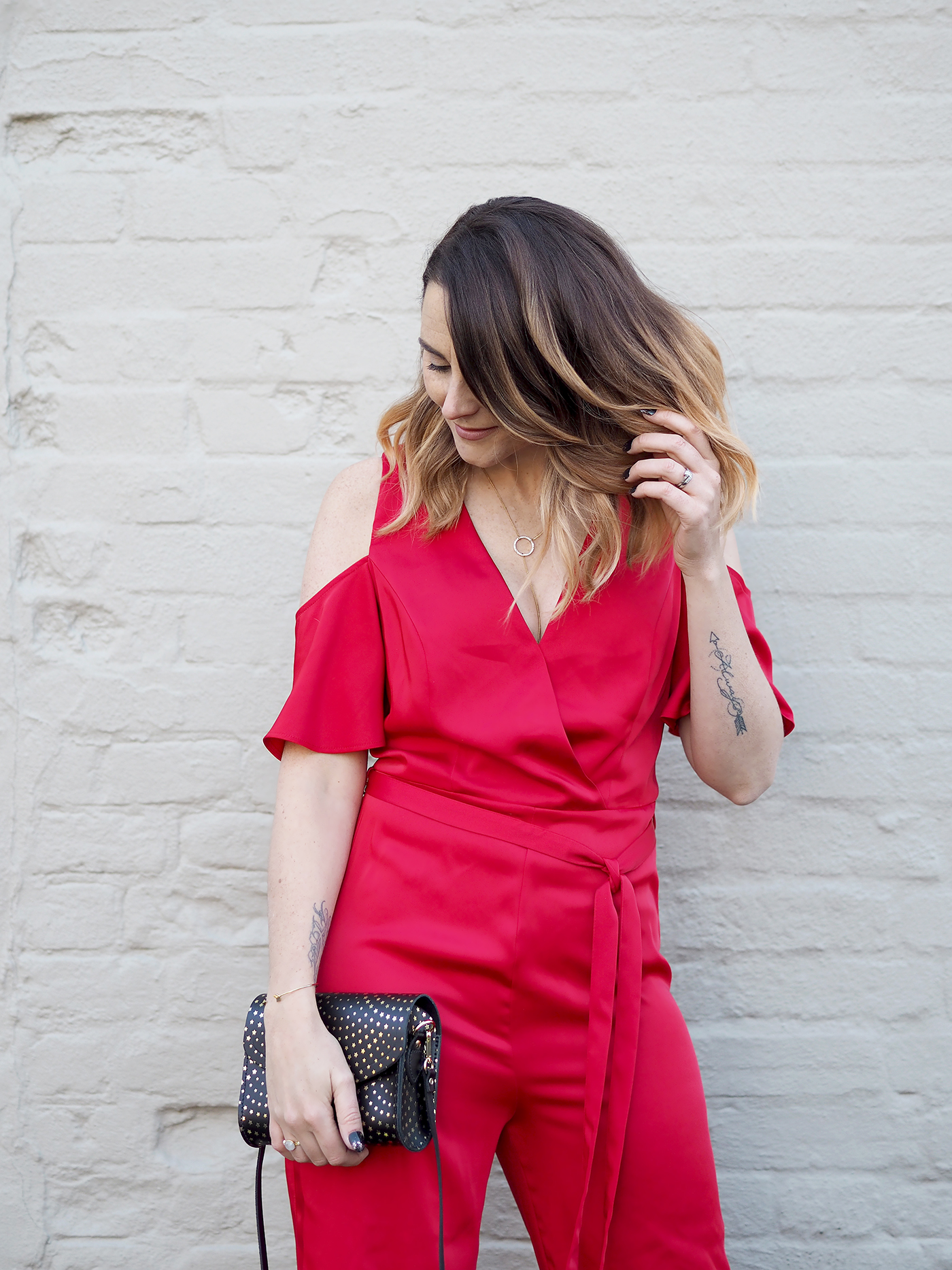 Christmas party outfit red jumpsuit