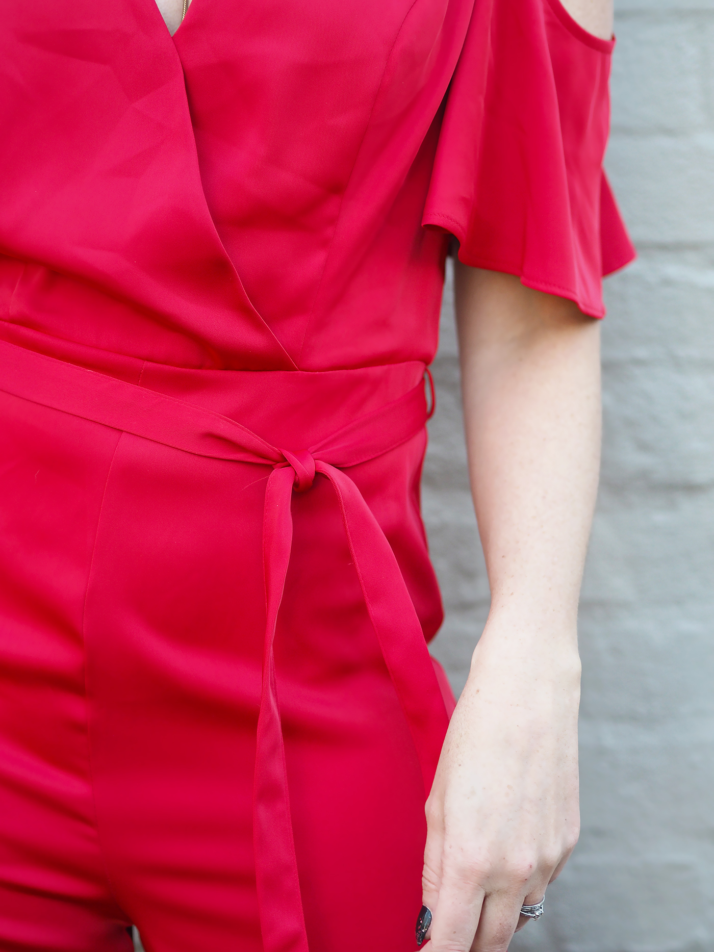 red cold shoulder jumpsuit from Next