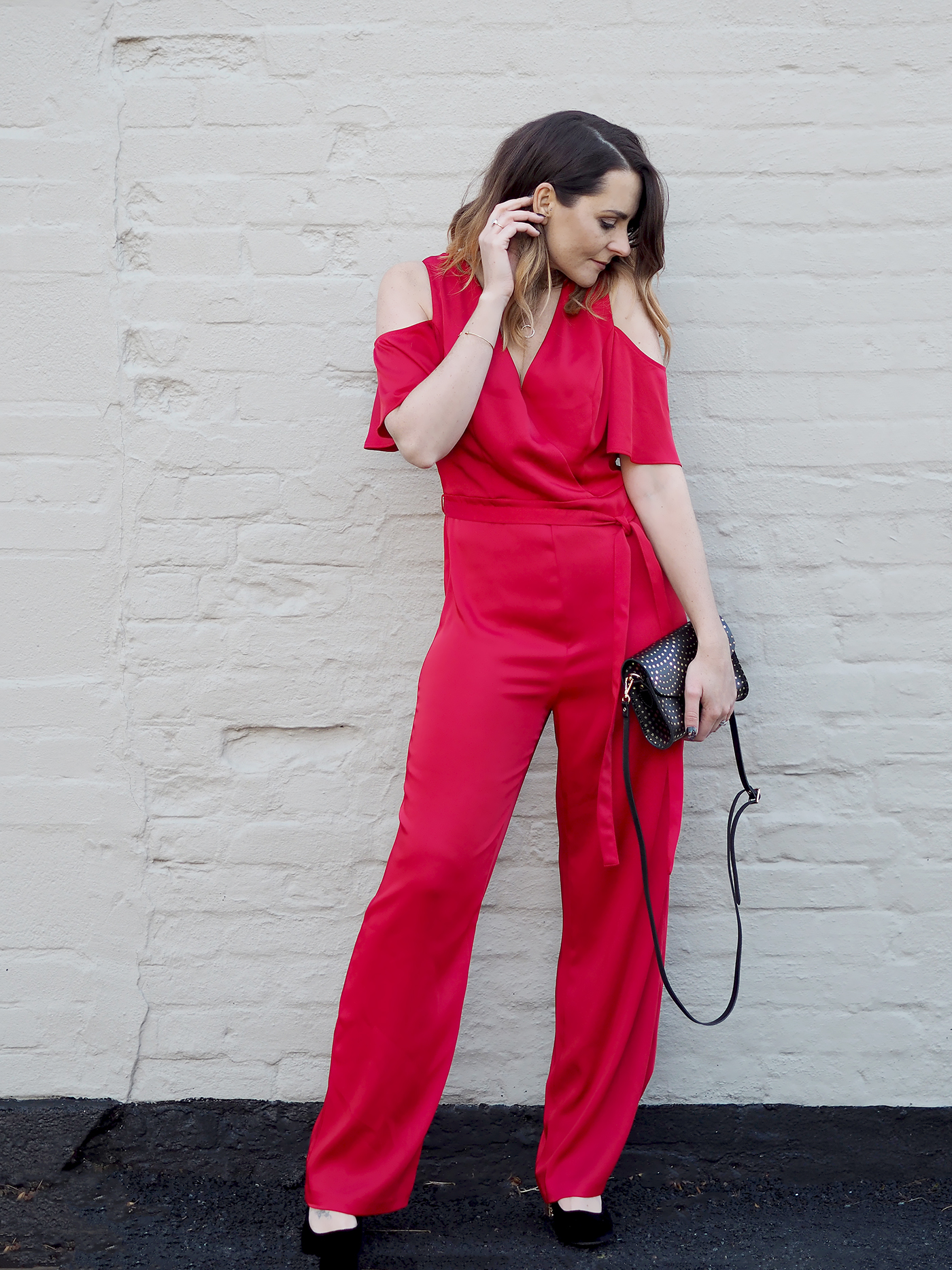 Christmas party outfits red jumpsuit