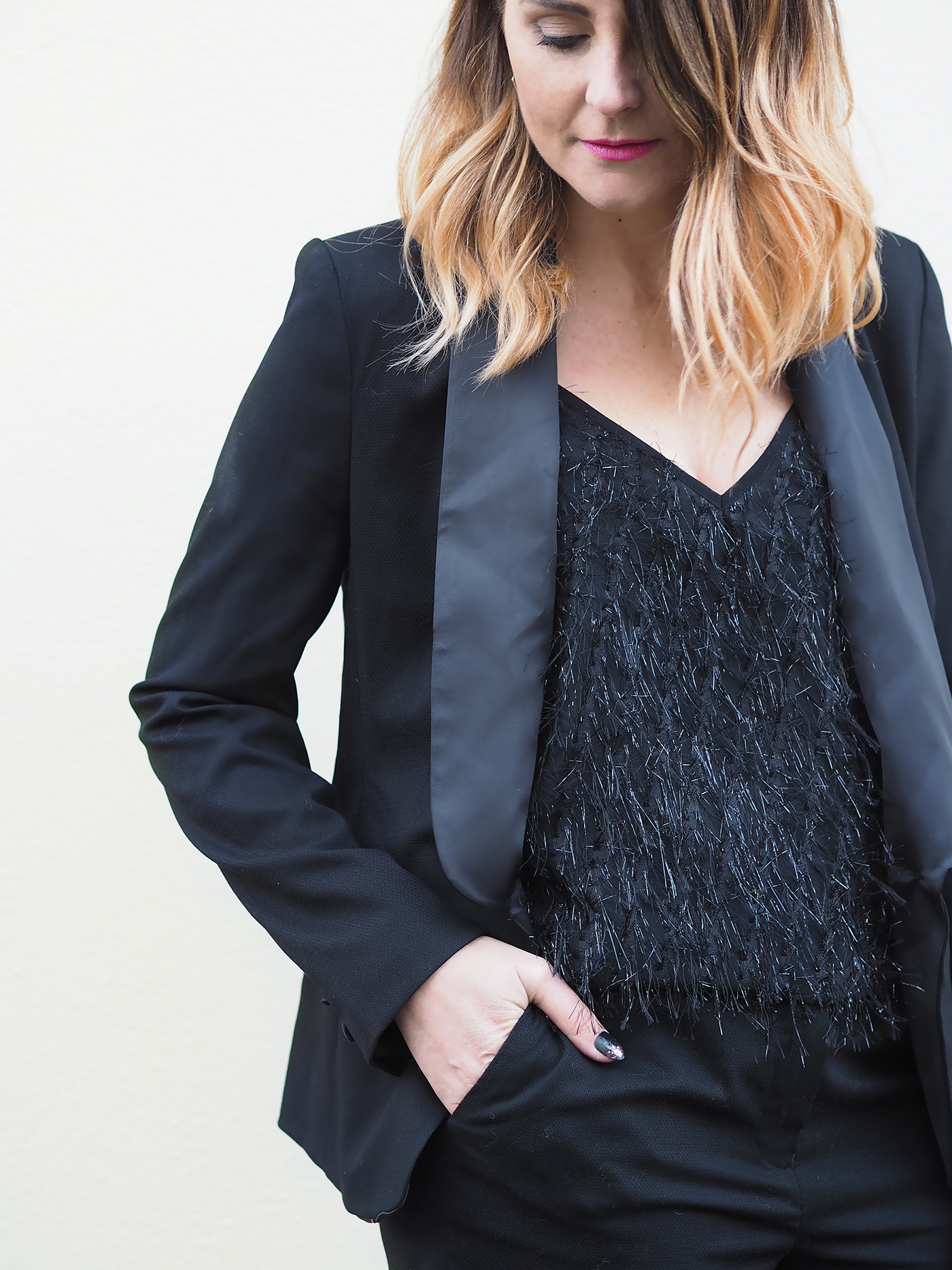 Black smart tuxedo suit womens with sparkly cami vest