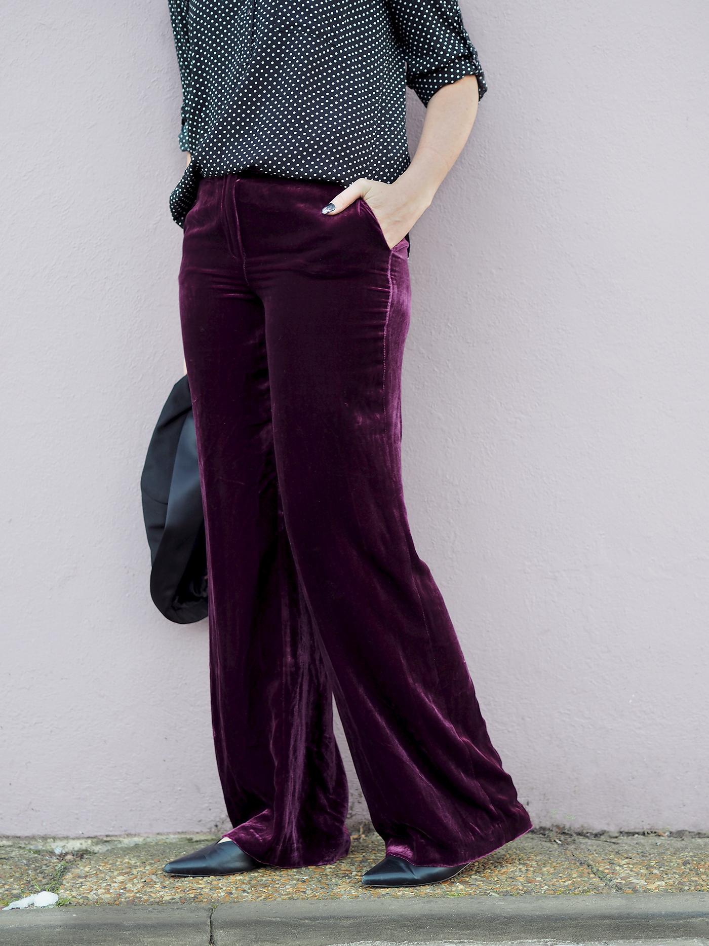 wide leg boden velvet trousers in mulberry colour