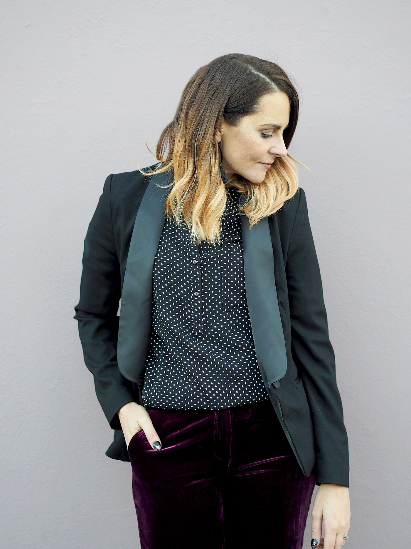 party outfit velvet trousers and polka dot shirt