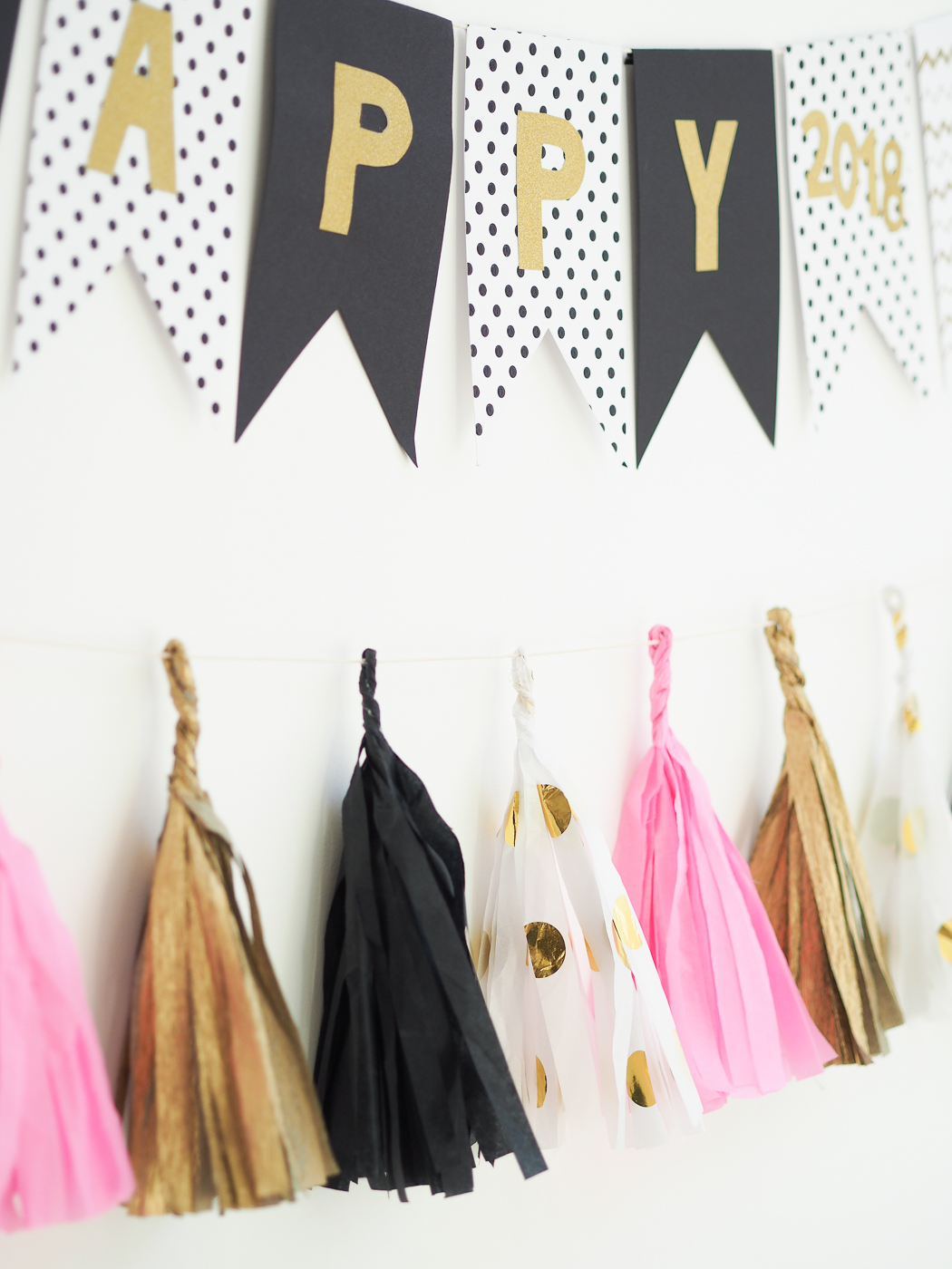 tissue paper tassel banner new years eve