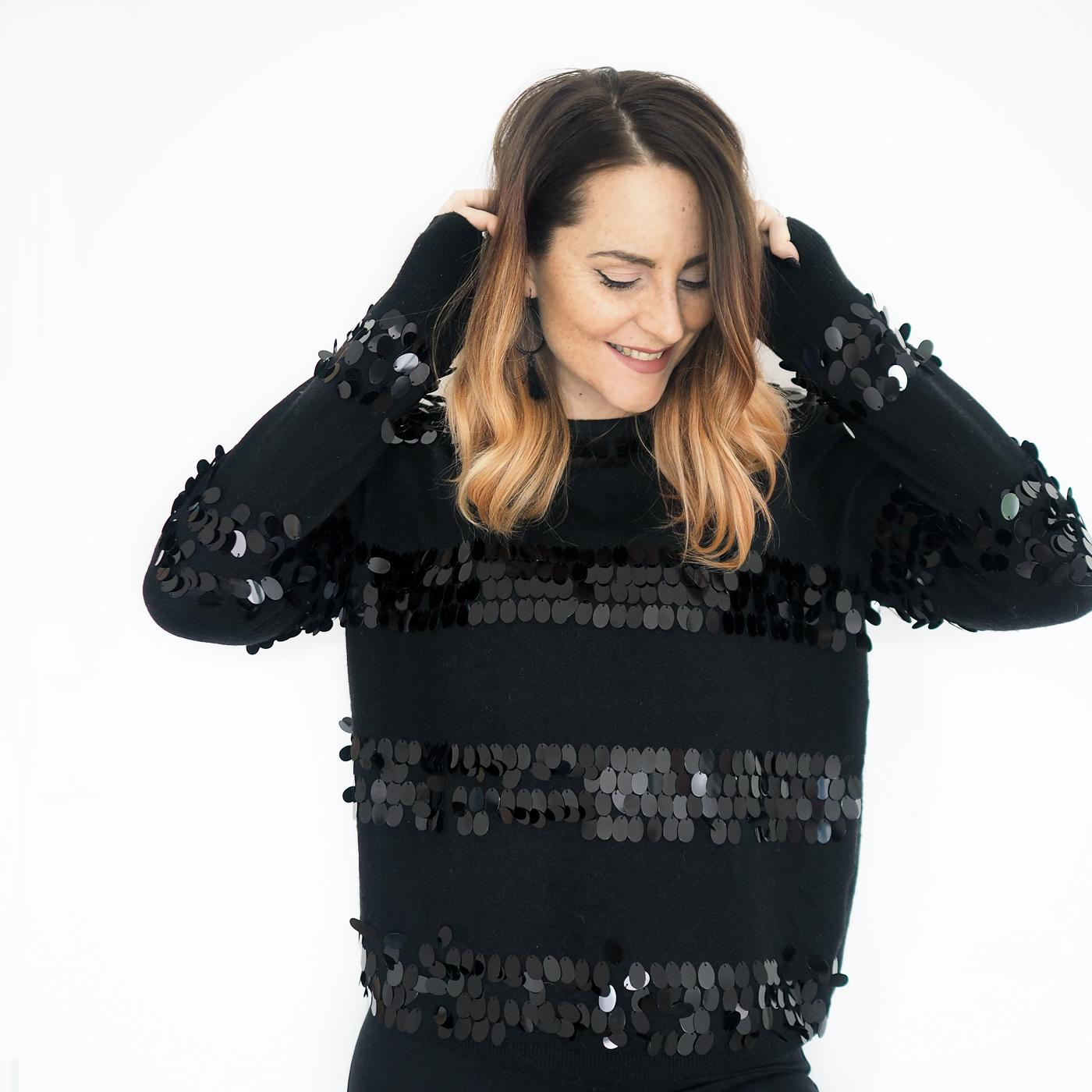 black sequin jumper