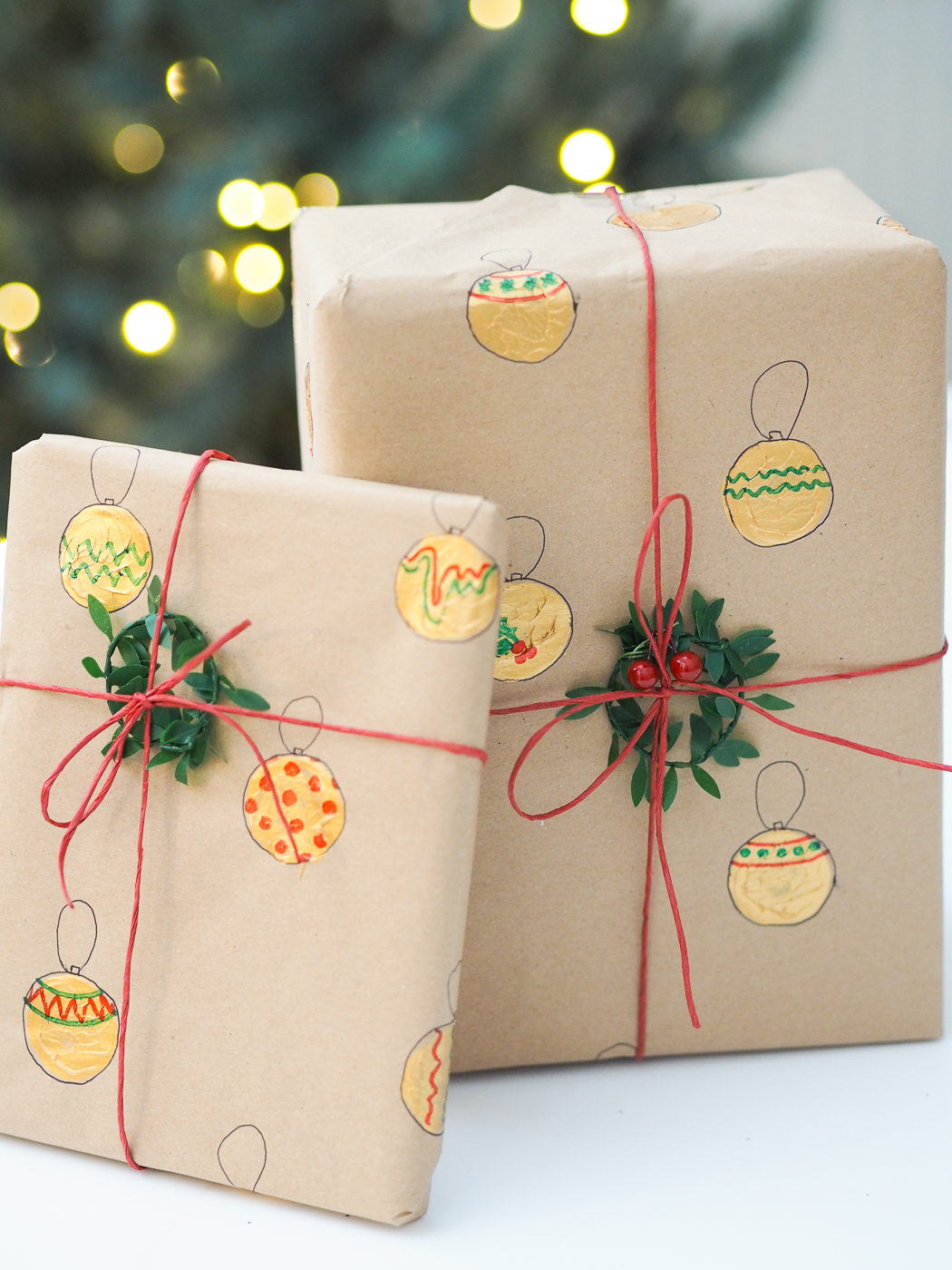 gold bauble painted diy wrapping paper