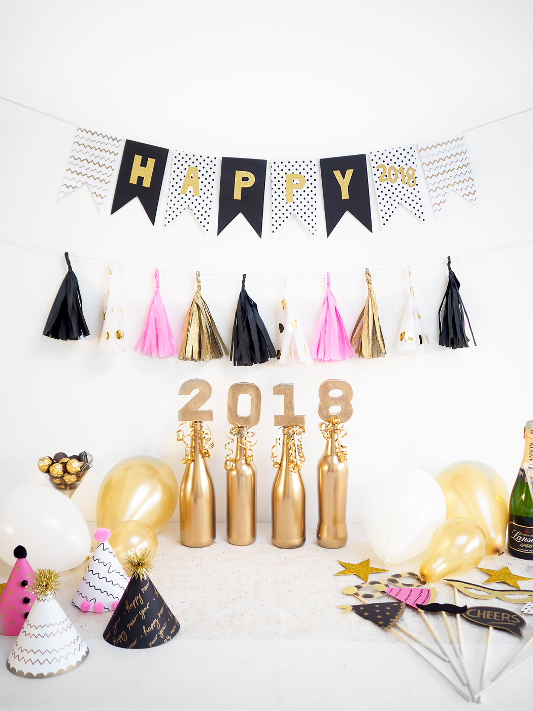 diy new years eve decorations pink and gold