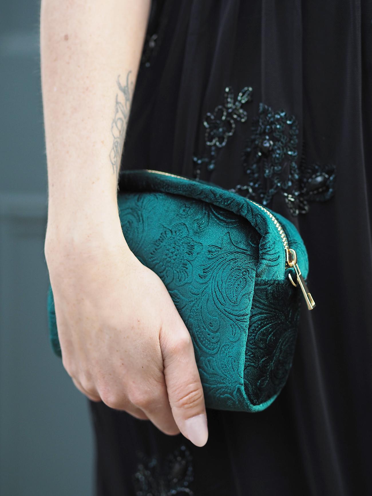 green velvet handbag