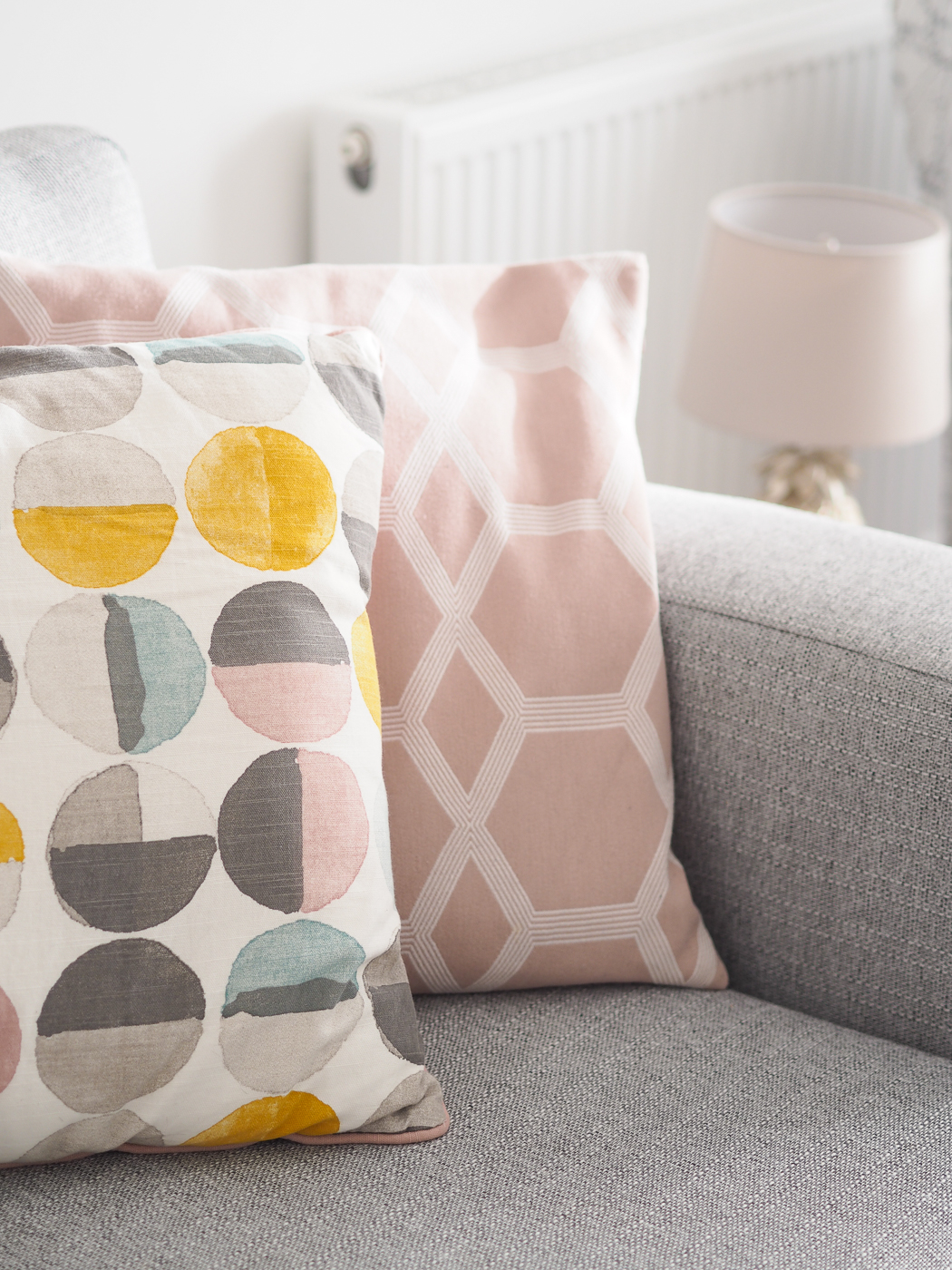 living room tour sainsbury and H&m cushions pink