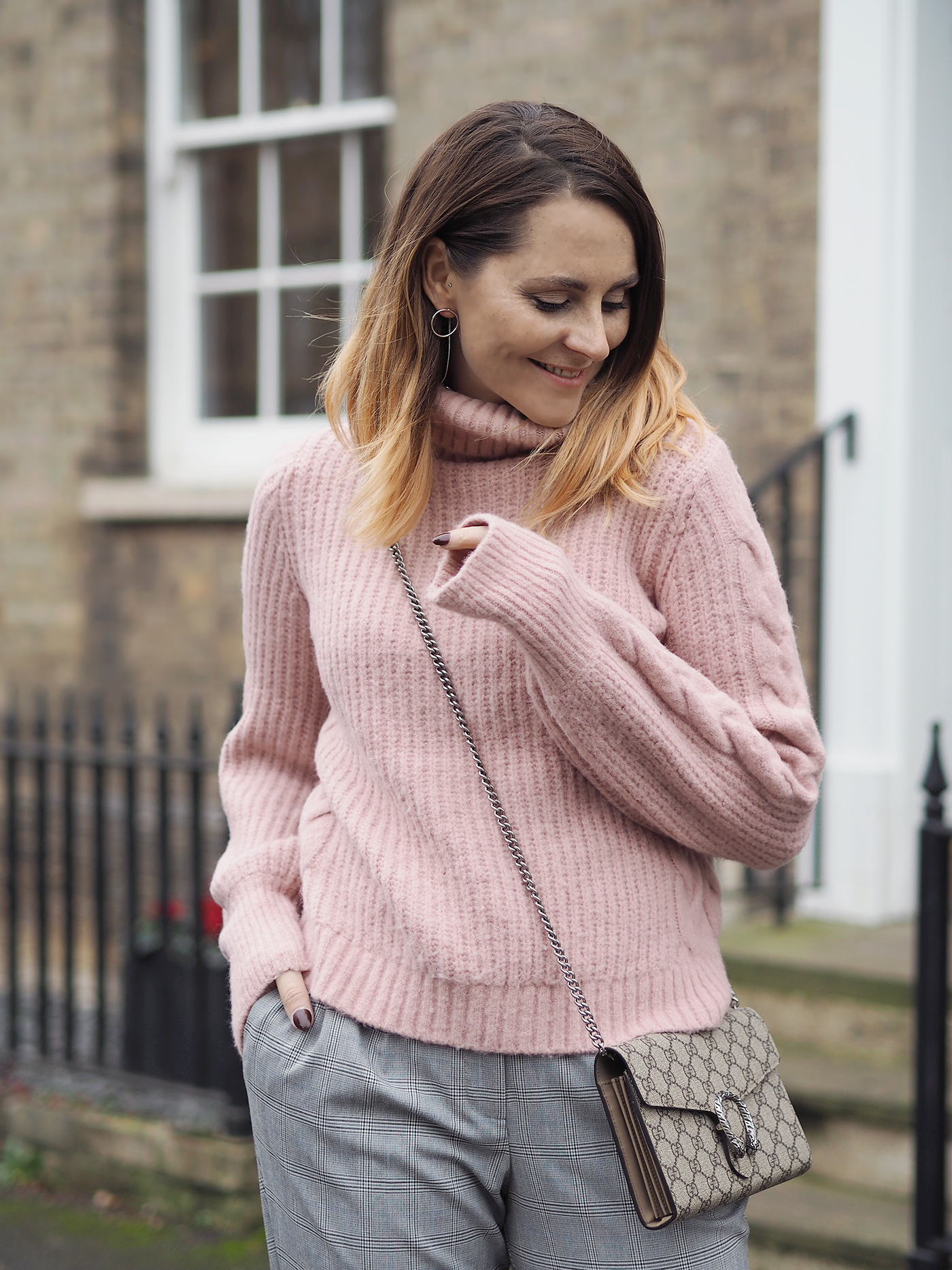 pink jumper checked trousers outfit gucci dionysus