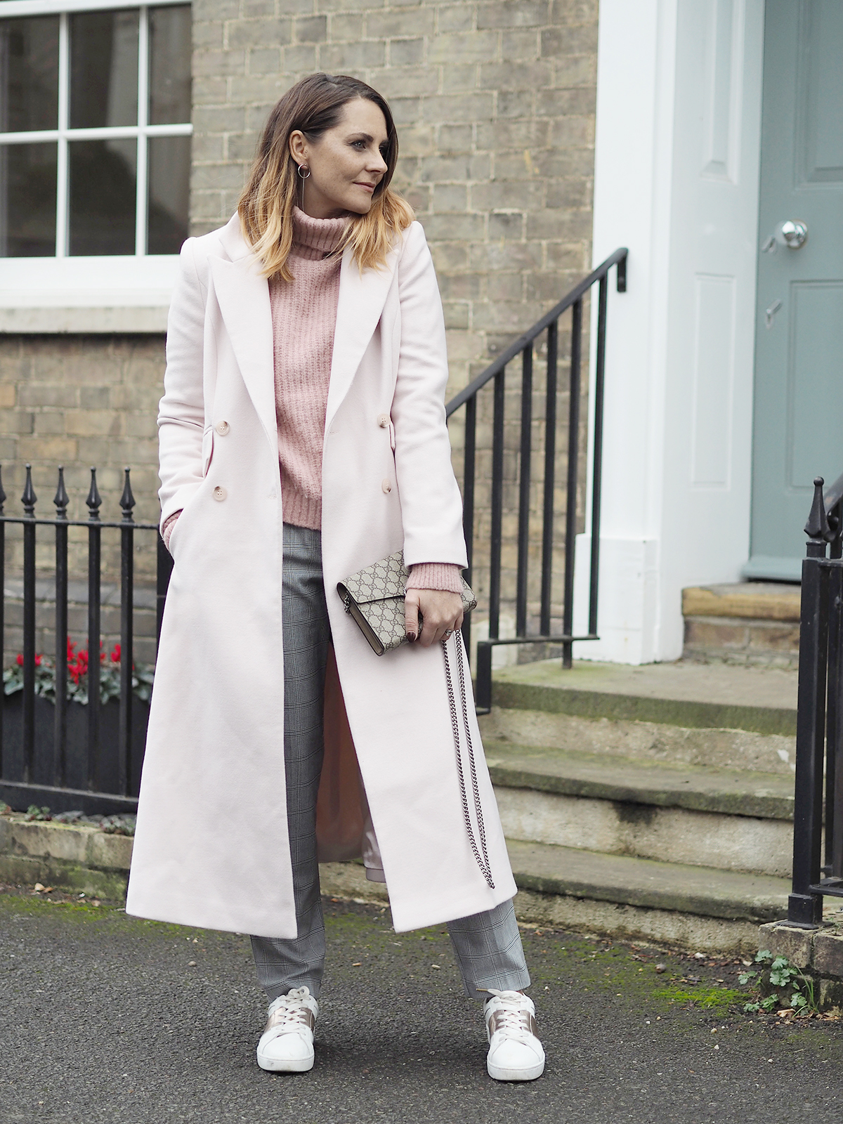 blush pink coat outfit