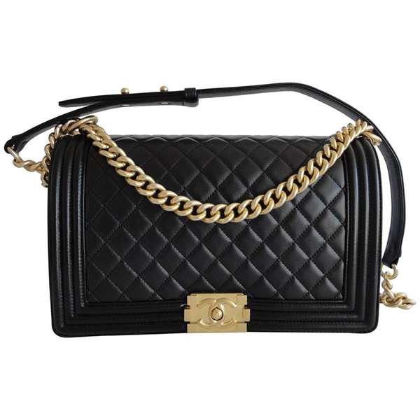 Chanel boy bag black with gold hardware