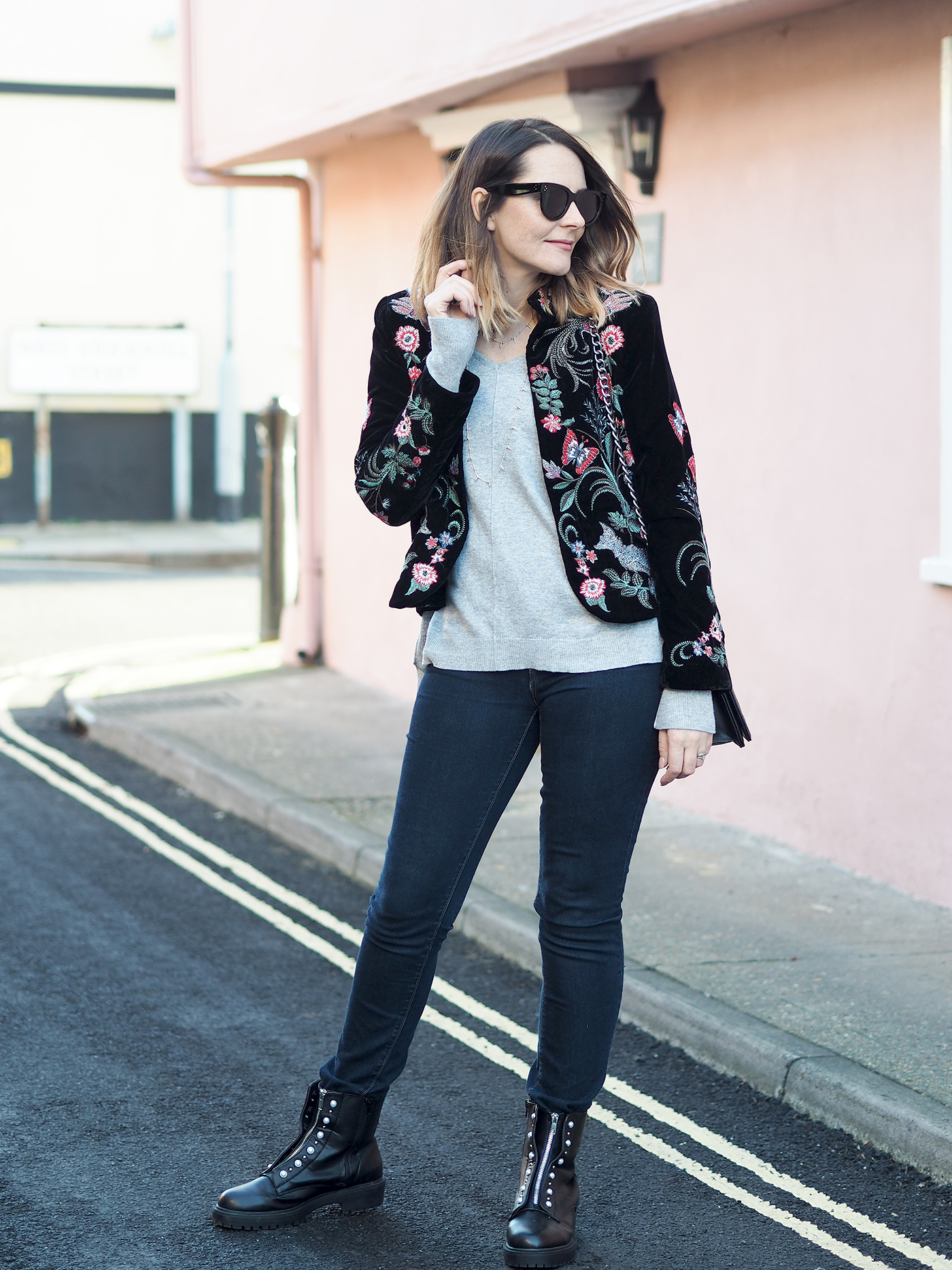 black velvet embroidered jacket outfit with chanel boy bag