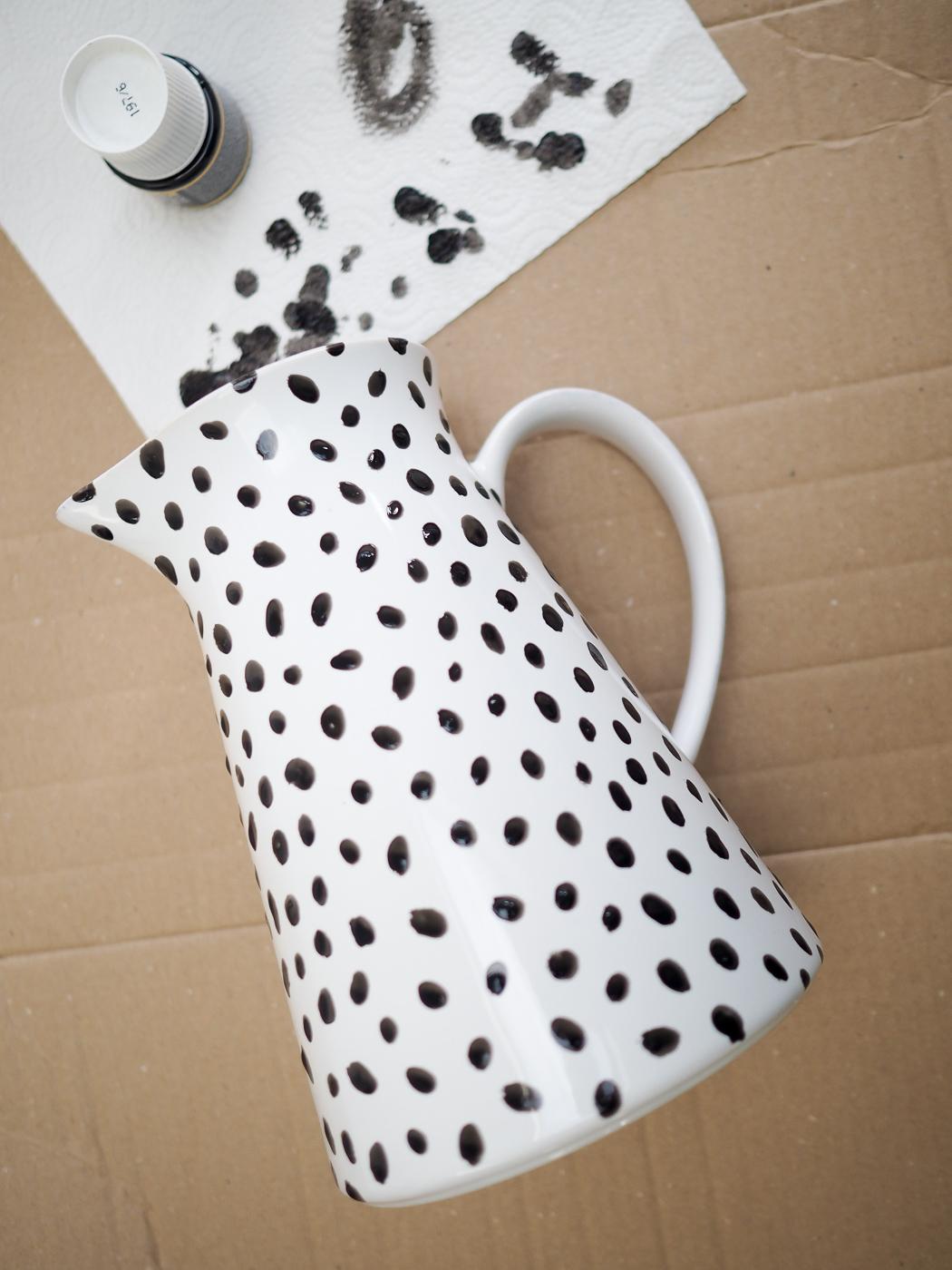 diy spotty dalmatian print jug vase