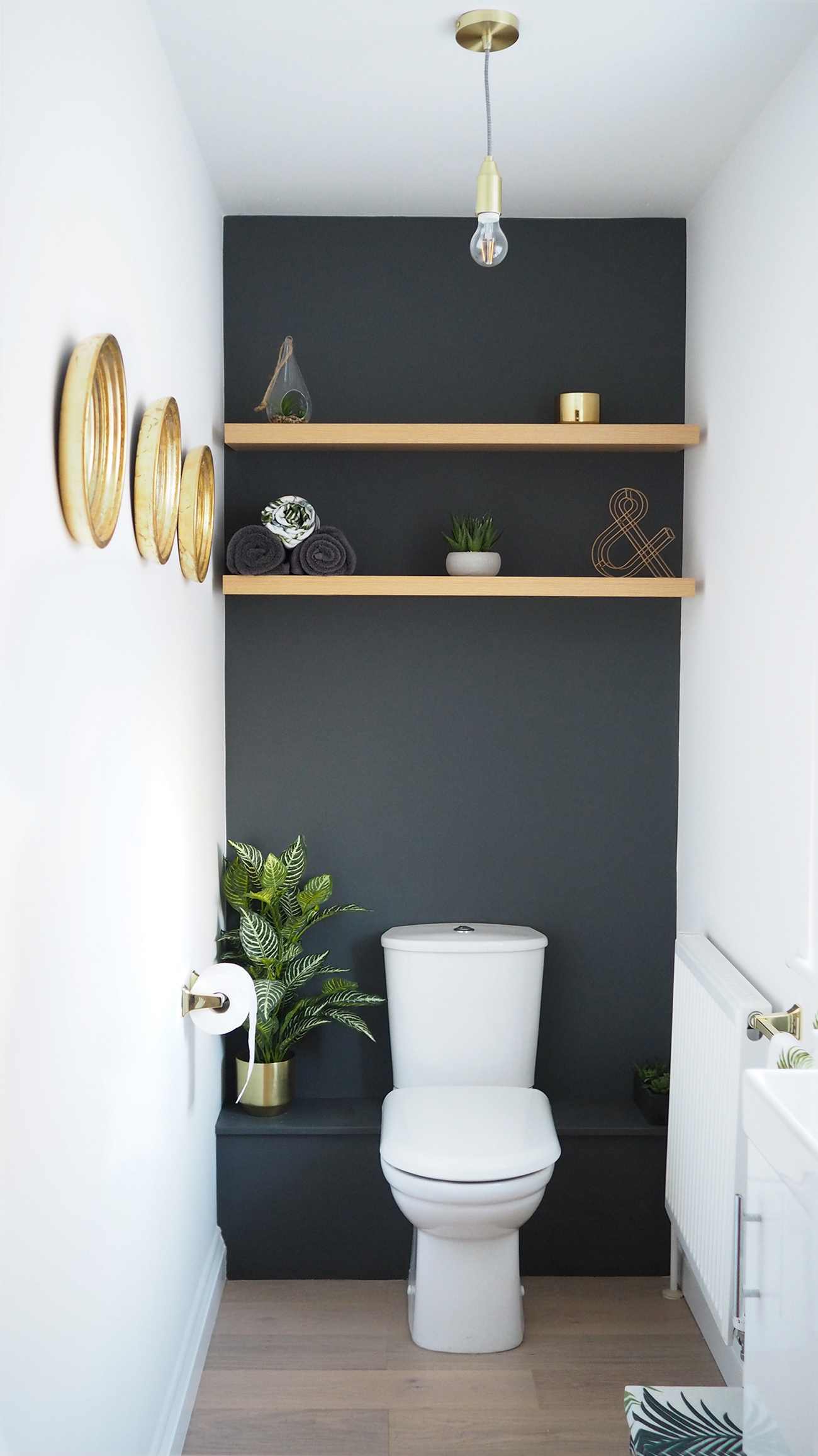 Home downstairs bathroom dark grey makeover bang on style for Small loo ideas