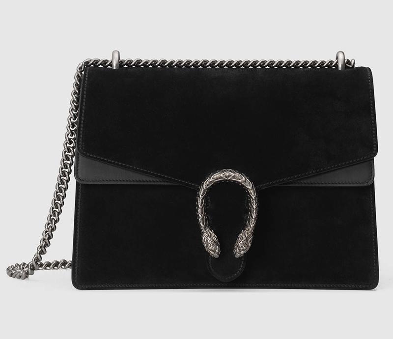 gucci black suede dionysus handbag