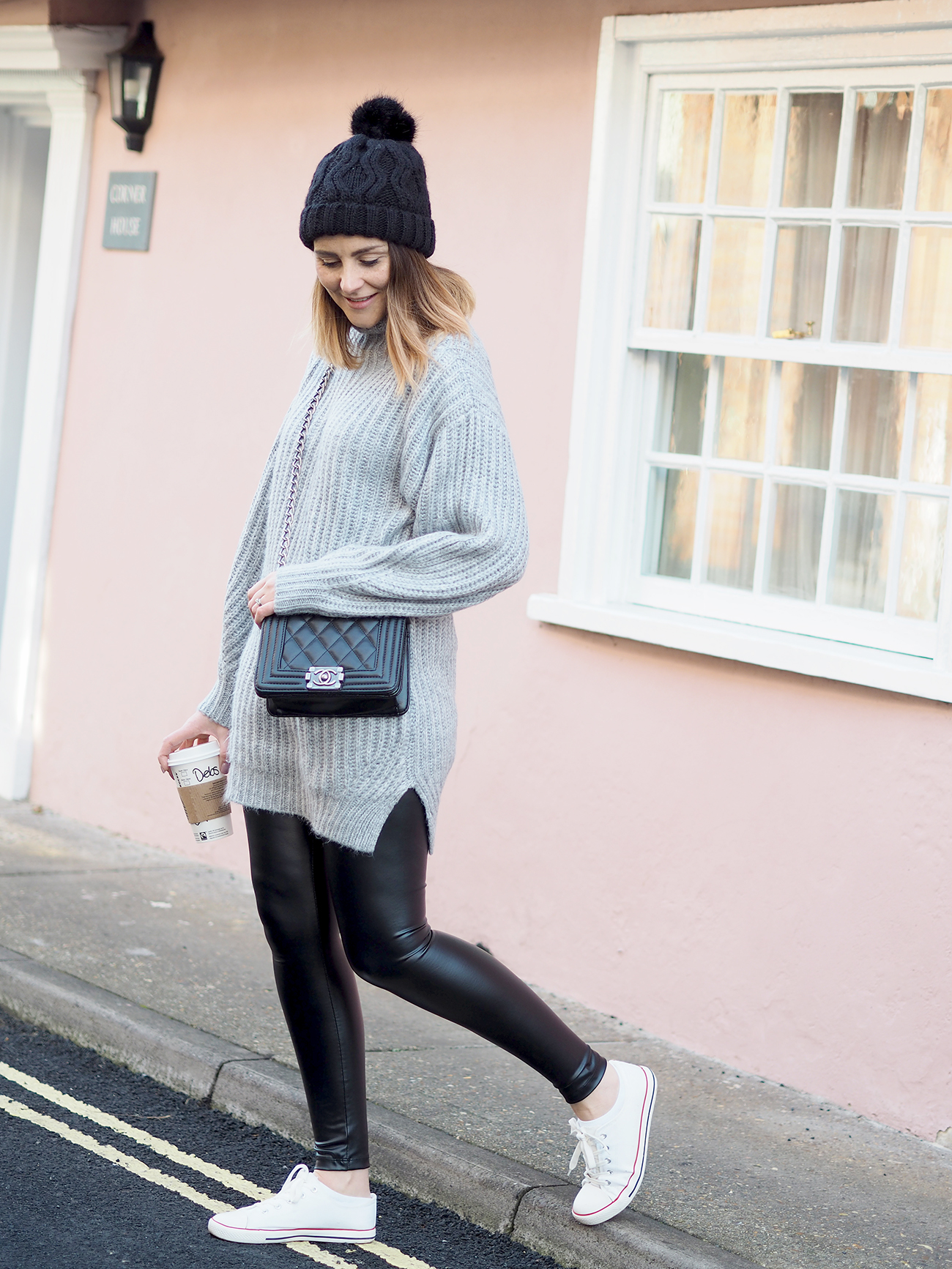 chunky jumper and leather look leggings outfit