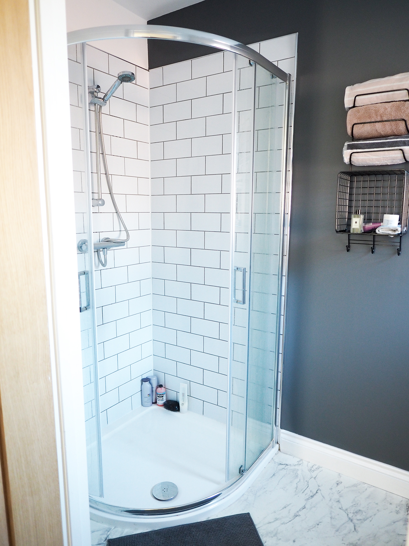 dark grey ensuite shower room