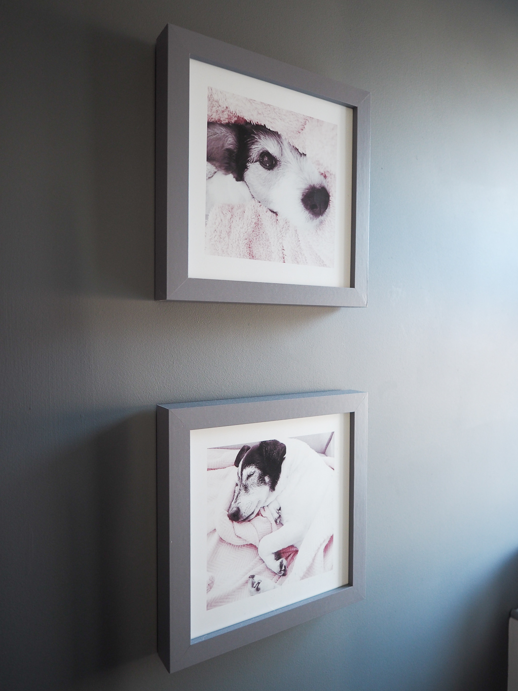 grey framed pictures on a grey wall