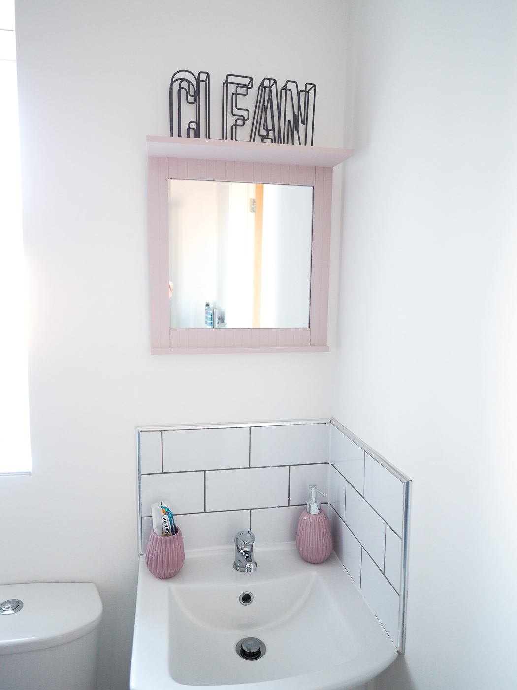 pink grey bathroom pink bathroom mirror