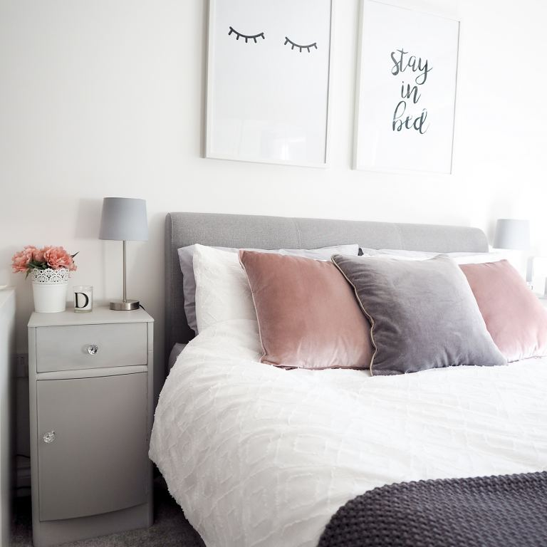 pink and grey scandi bedroom