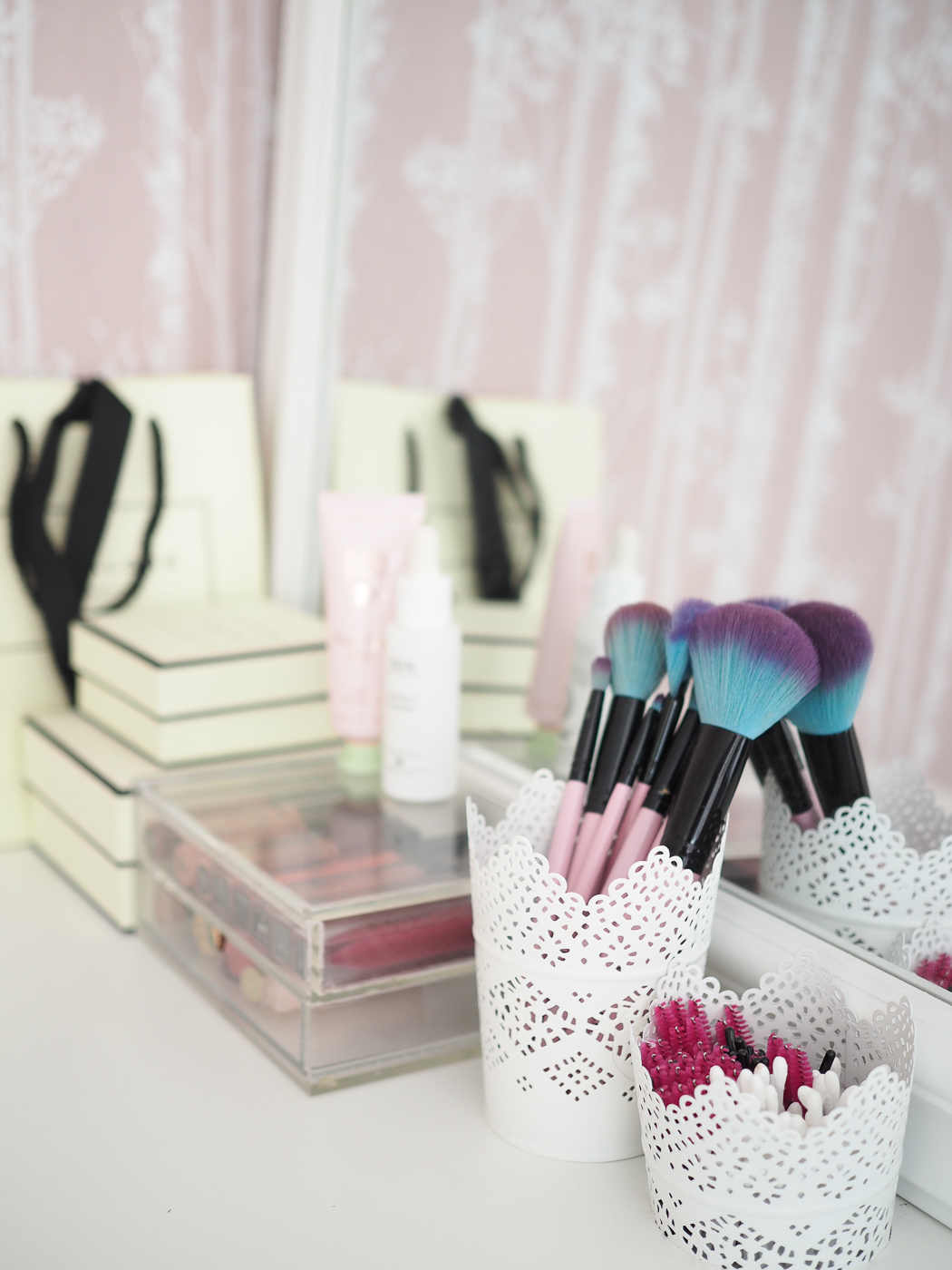 ikea dressing table with makeup brushes and jo malone