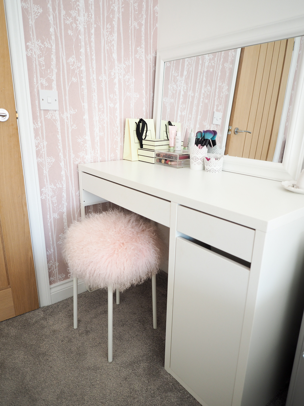 ikea dressing table with fluffy stool