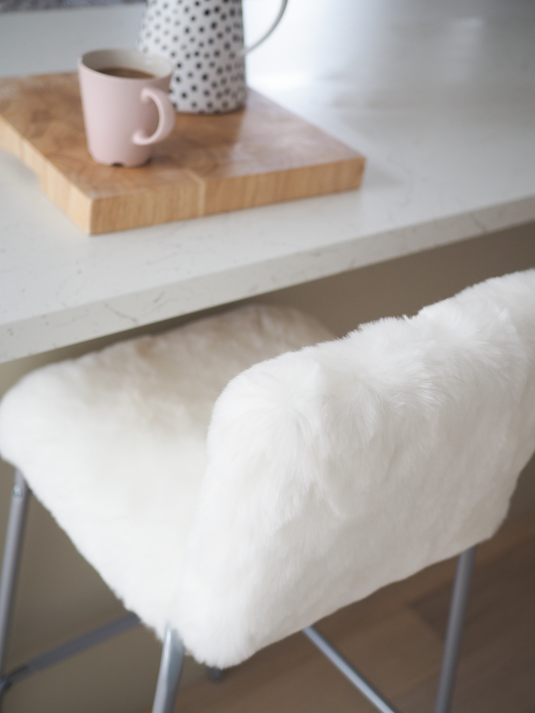 diy faux fur bar stool ikea hack