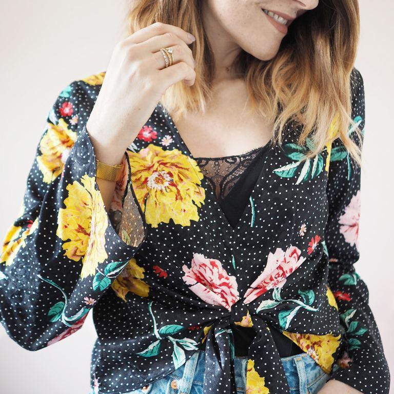Topshop floral polka dot blouse tie front