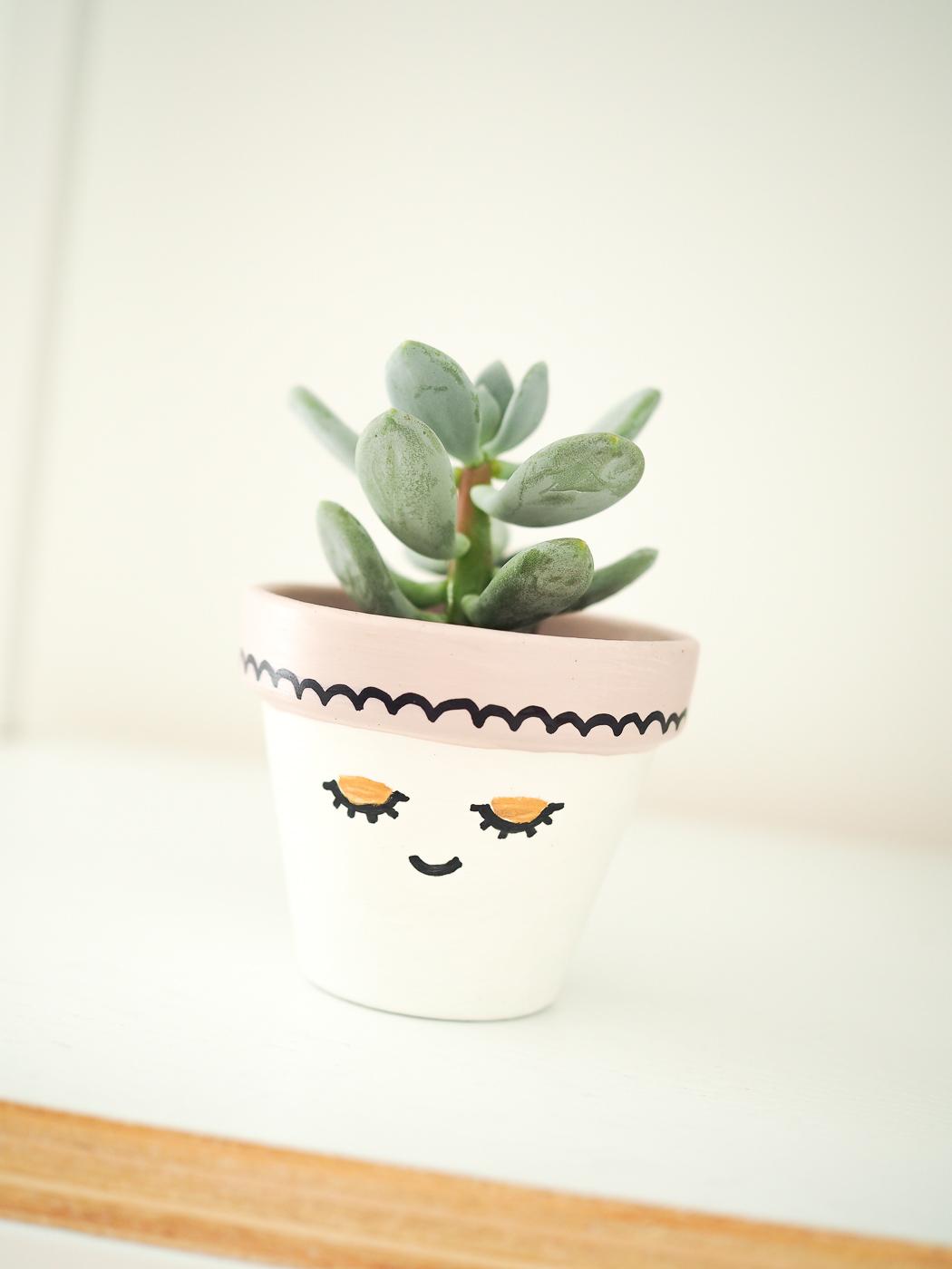 painted plant pot diy tutorial