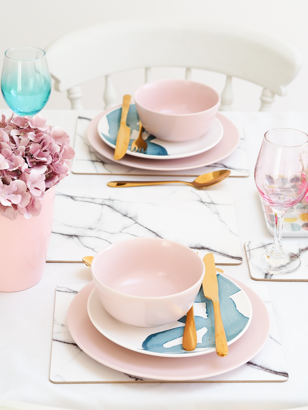 pink and marble table settings