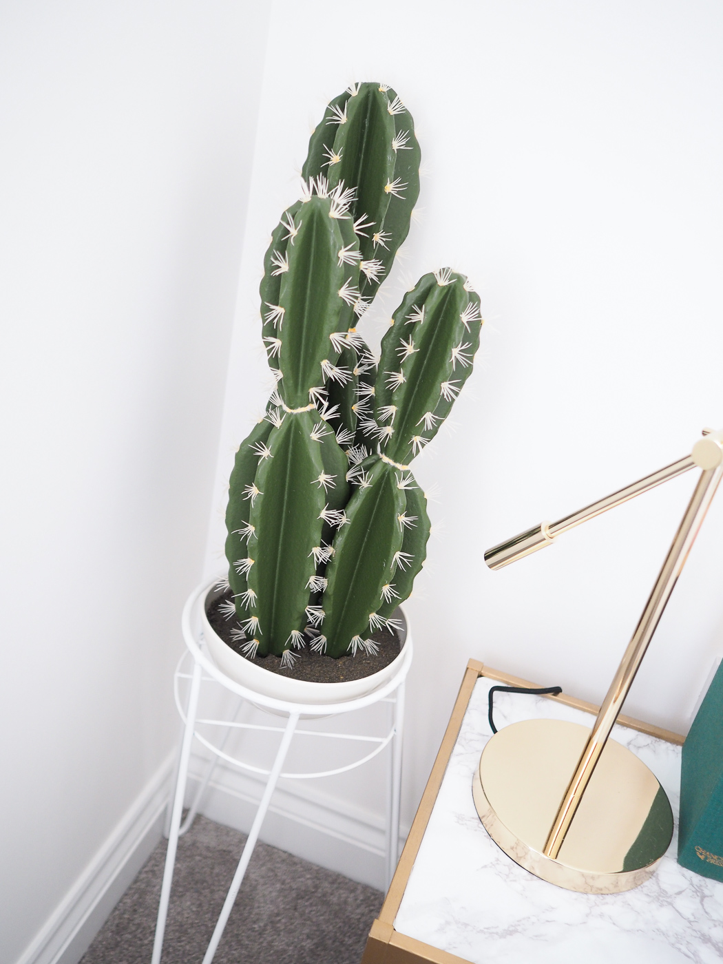 faux cactus in planter