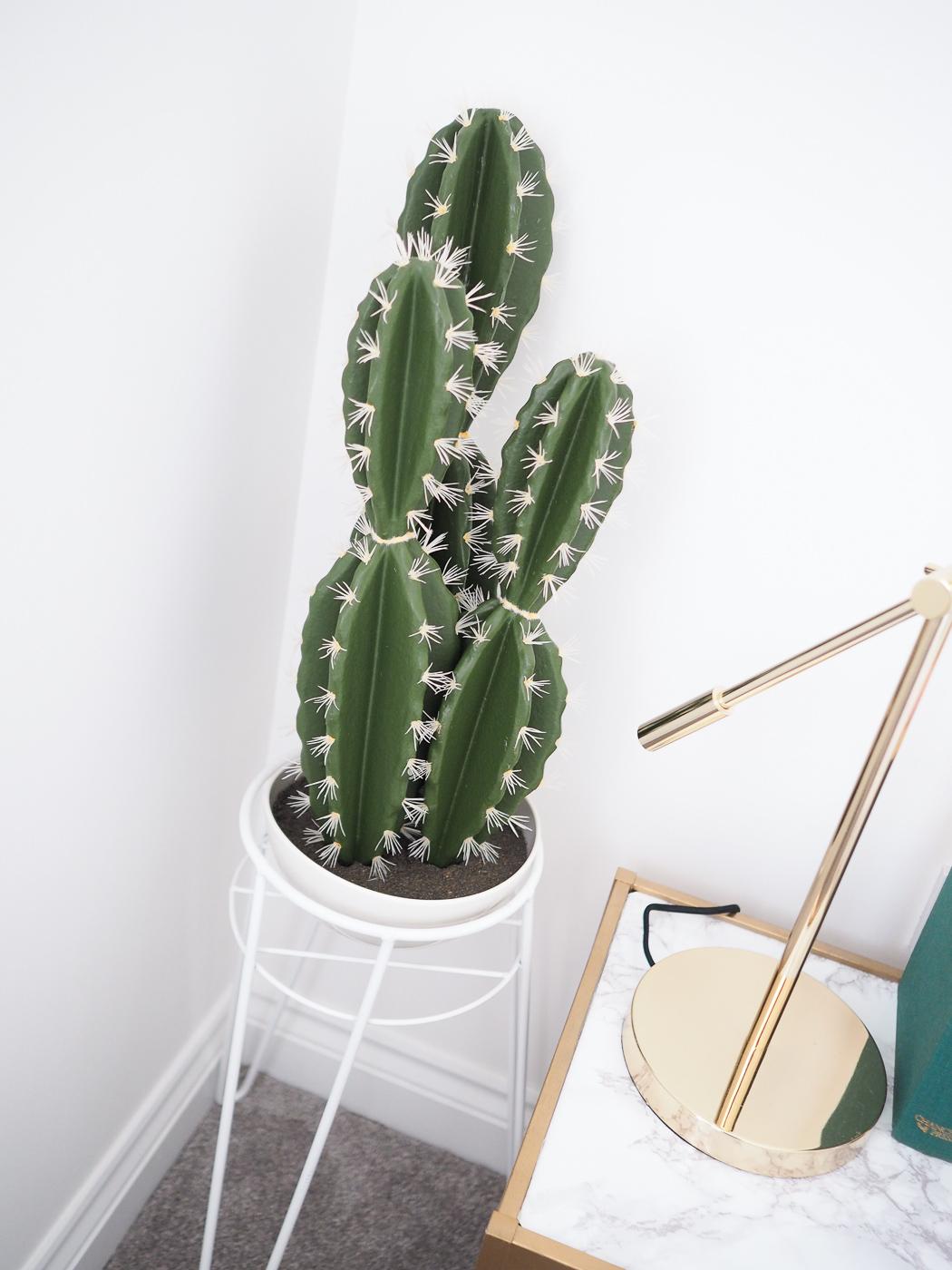 faux cactus in planter