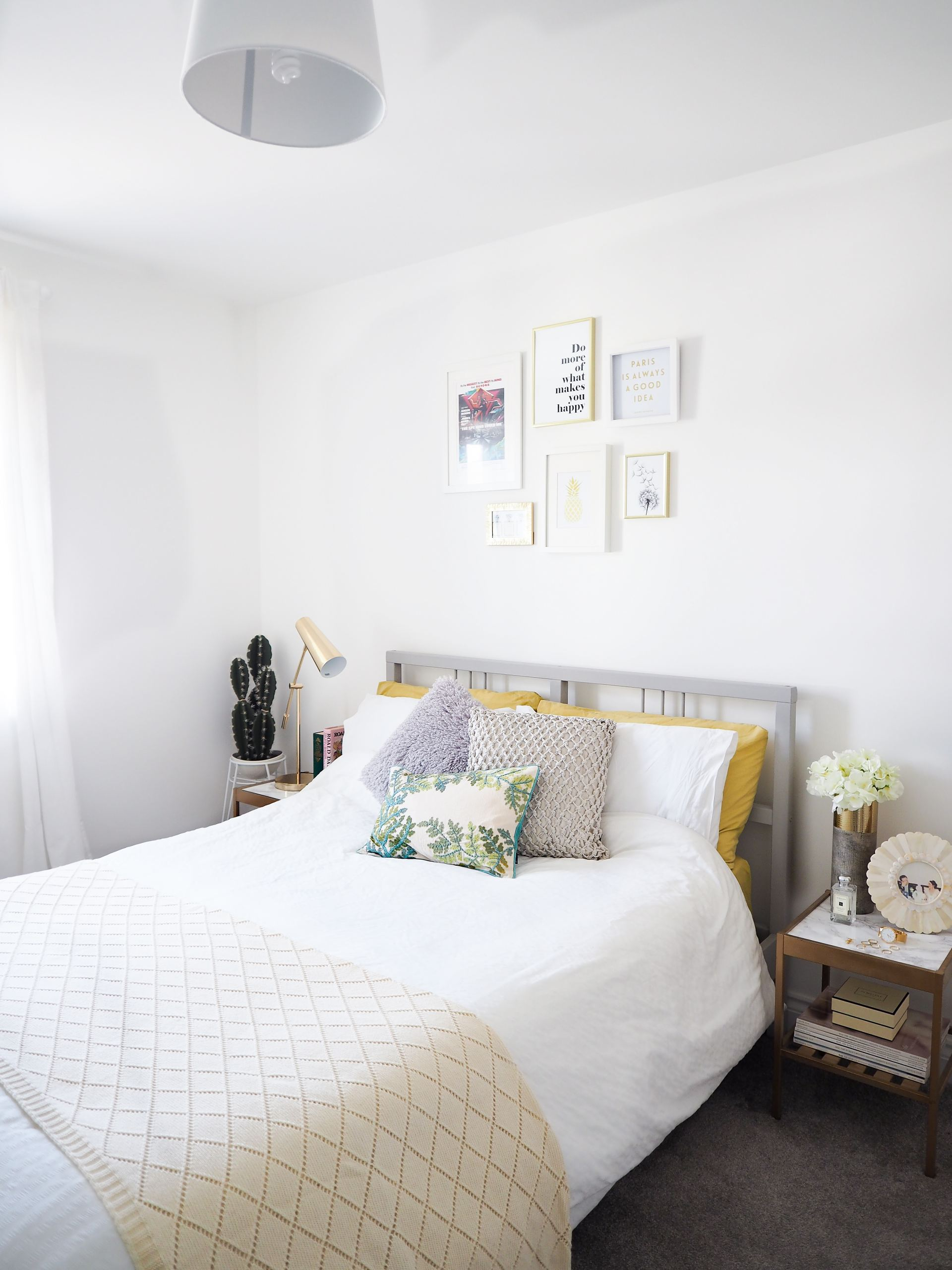 gold, green and grey bedroom makeover
