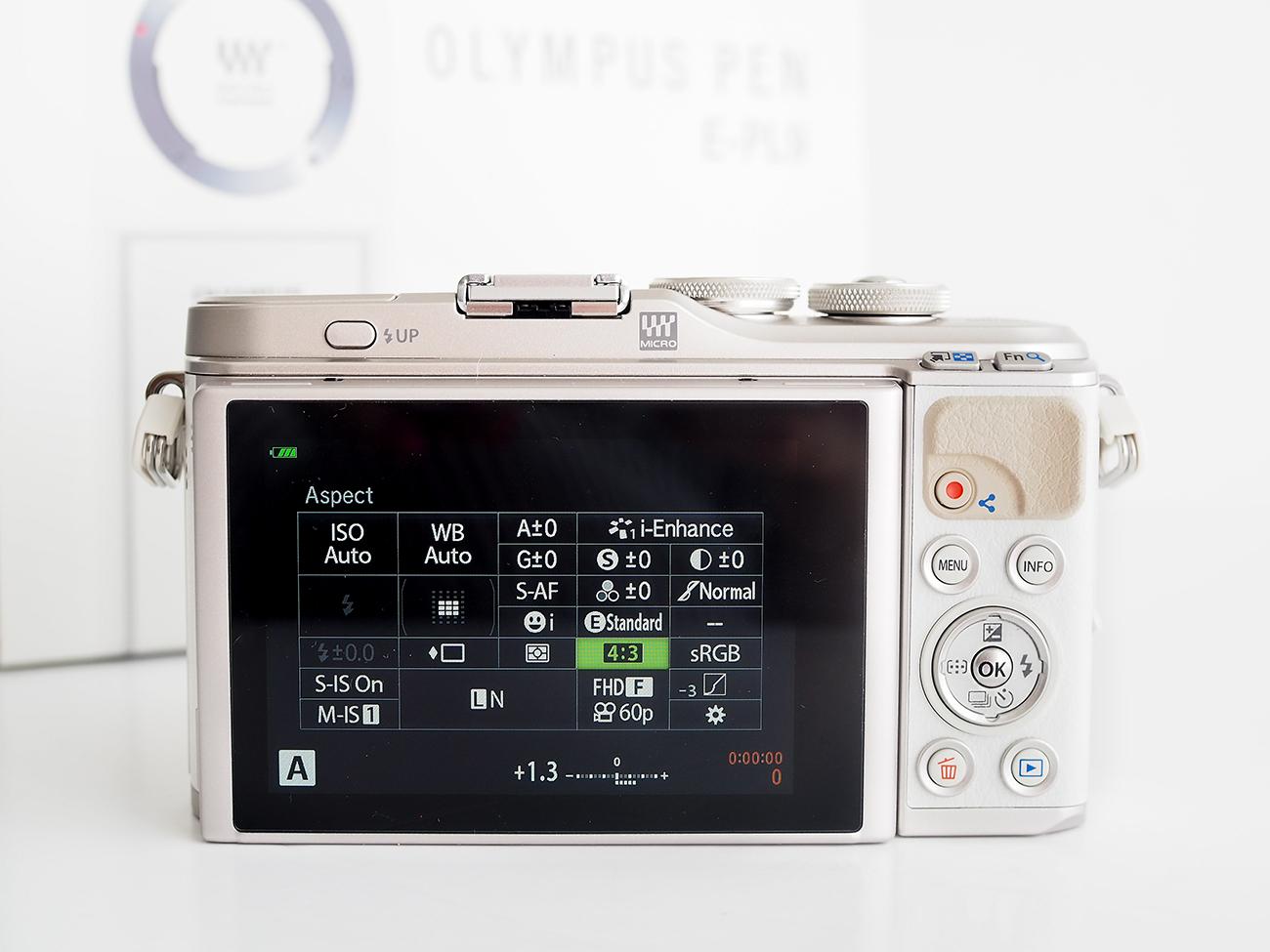 Olympus Pen EPL9 Camera menu layouts