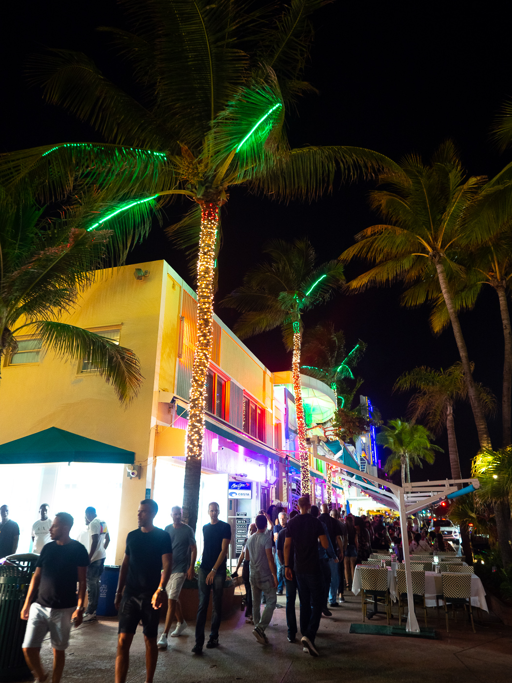 Miami Beach ocean drive by night